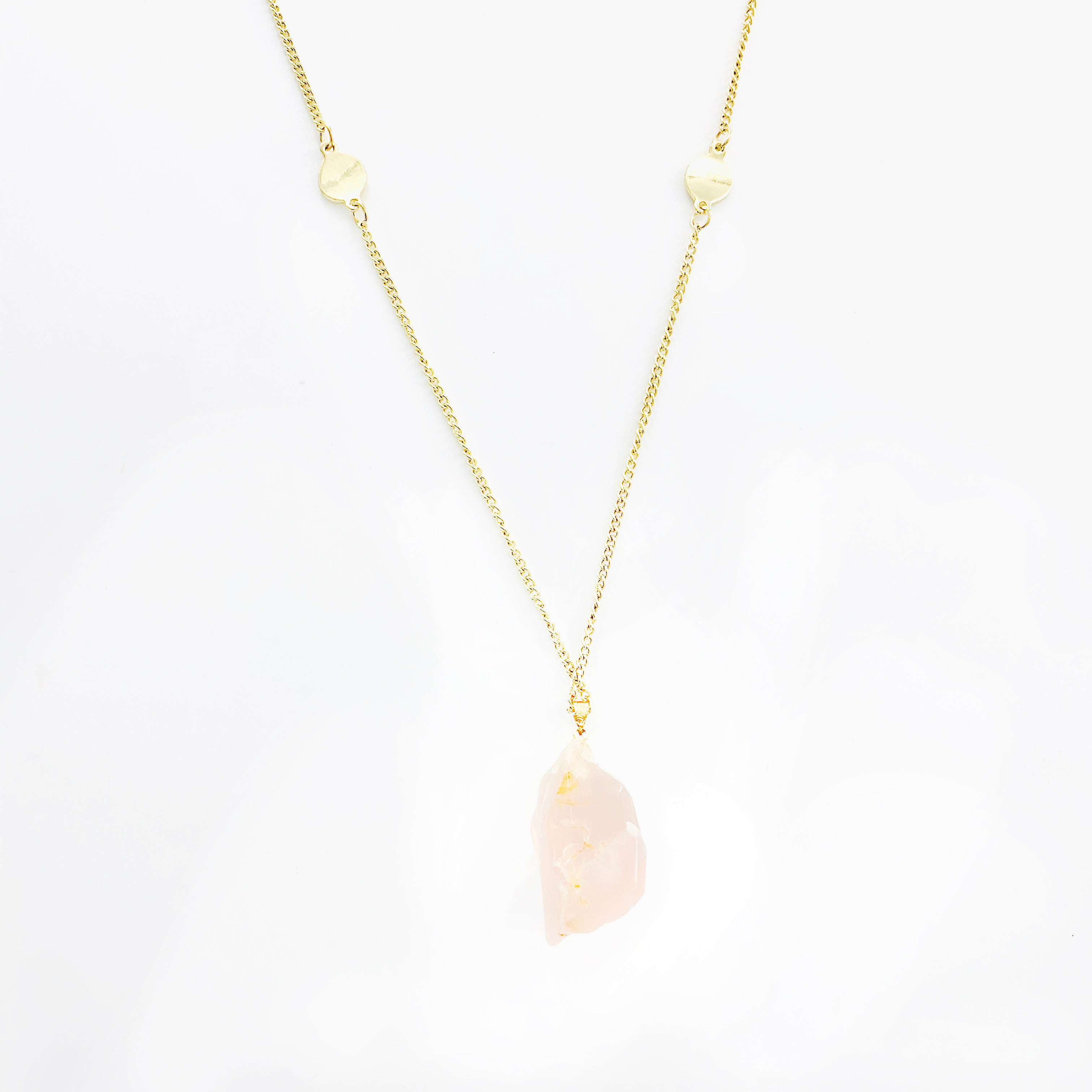 Necklace - Pink Stone on Gold Chain