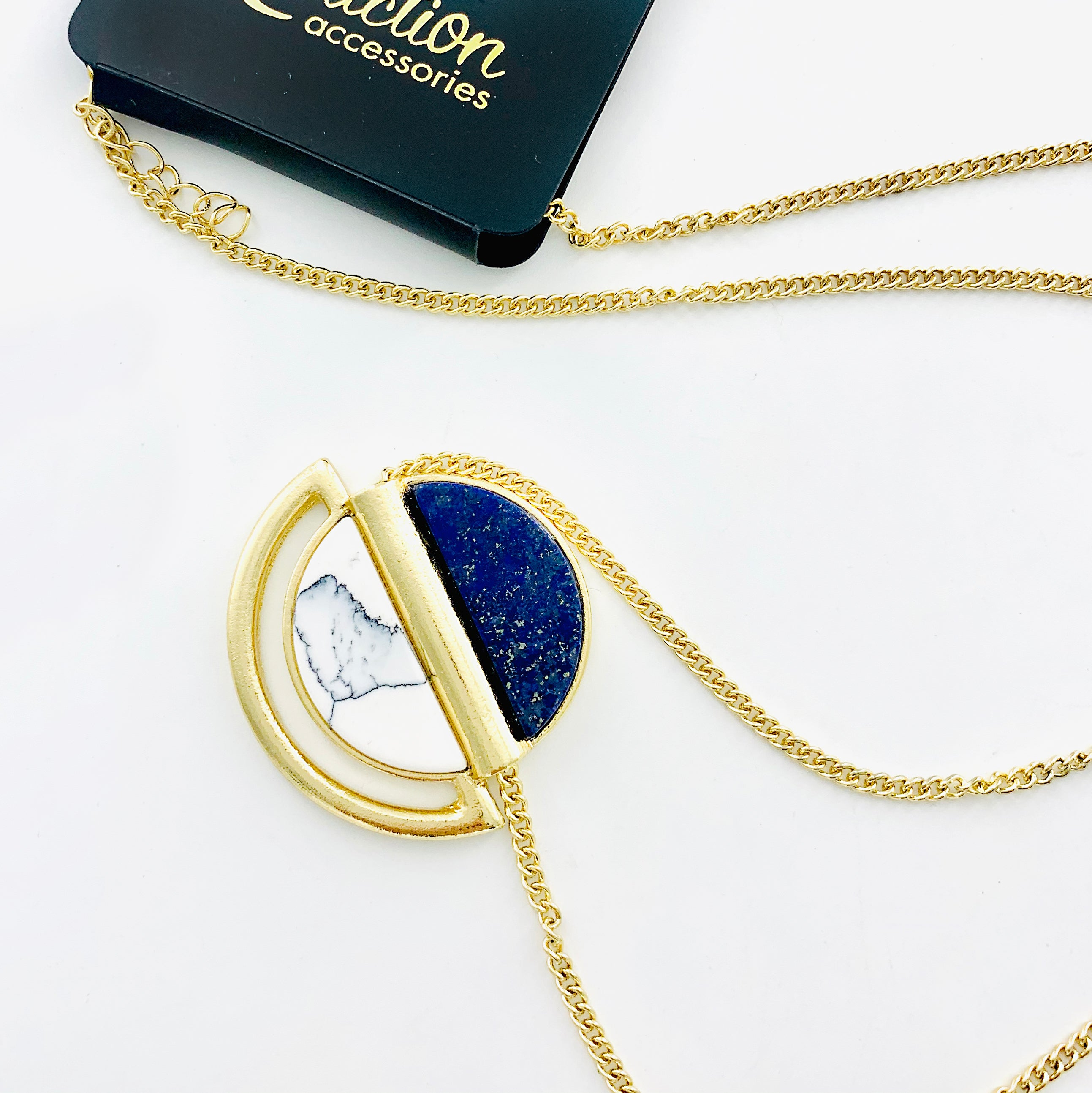 Necklace - Dark Blue & Marble Pendant on Gold Chain