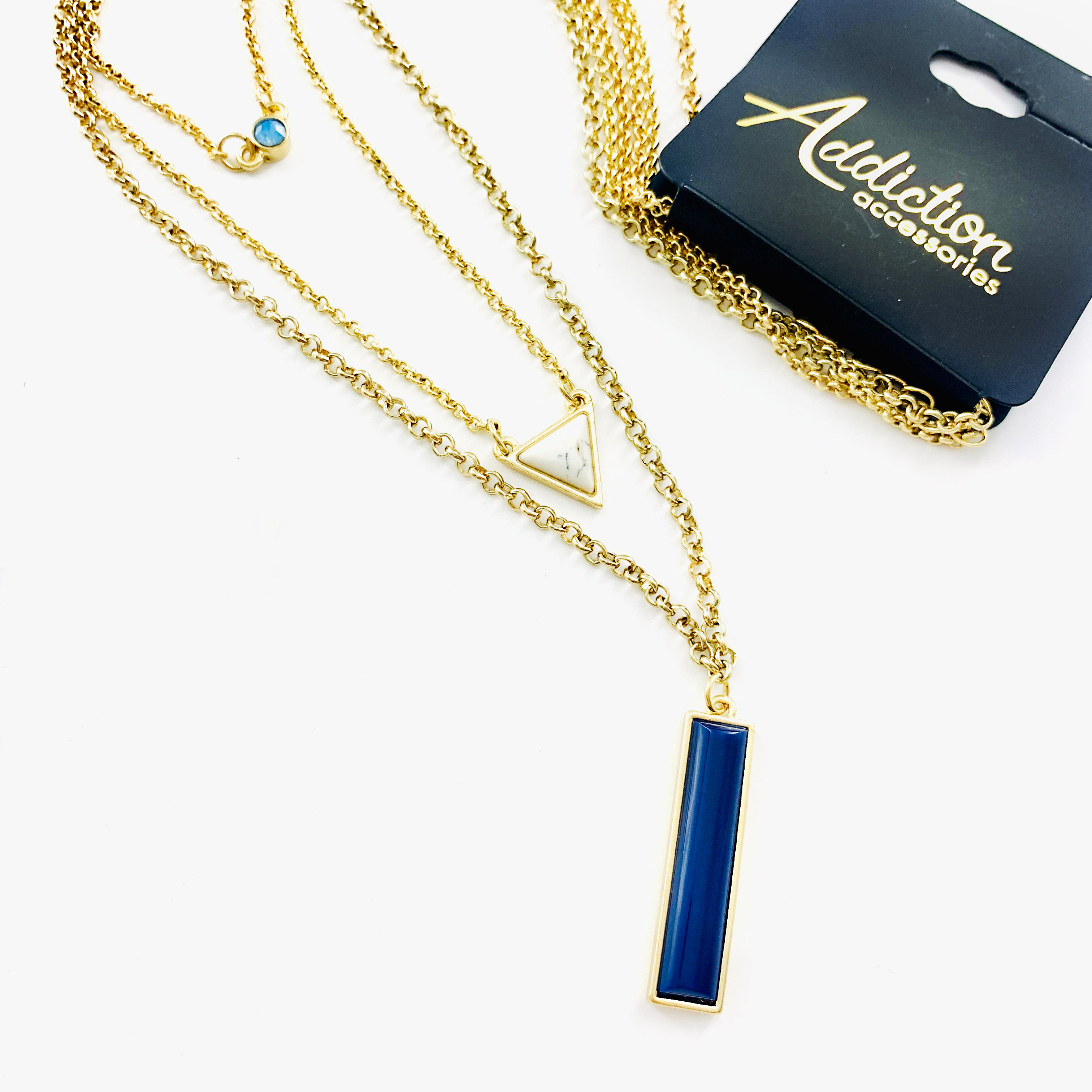 Necklace - Blue Bar and Marble Pendant on Triple Gold Chain
