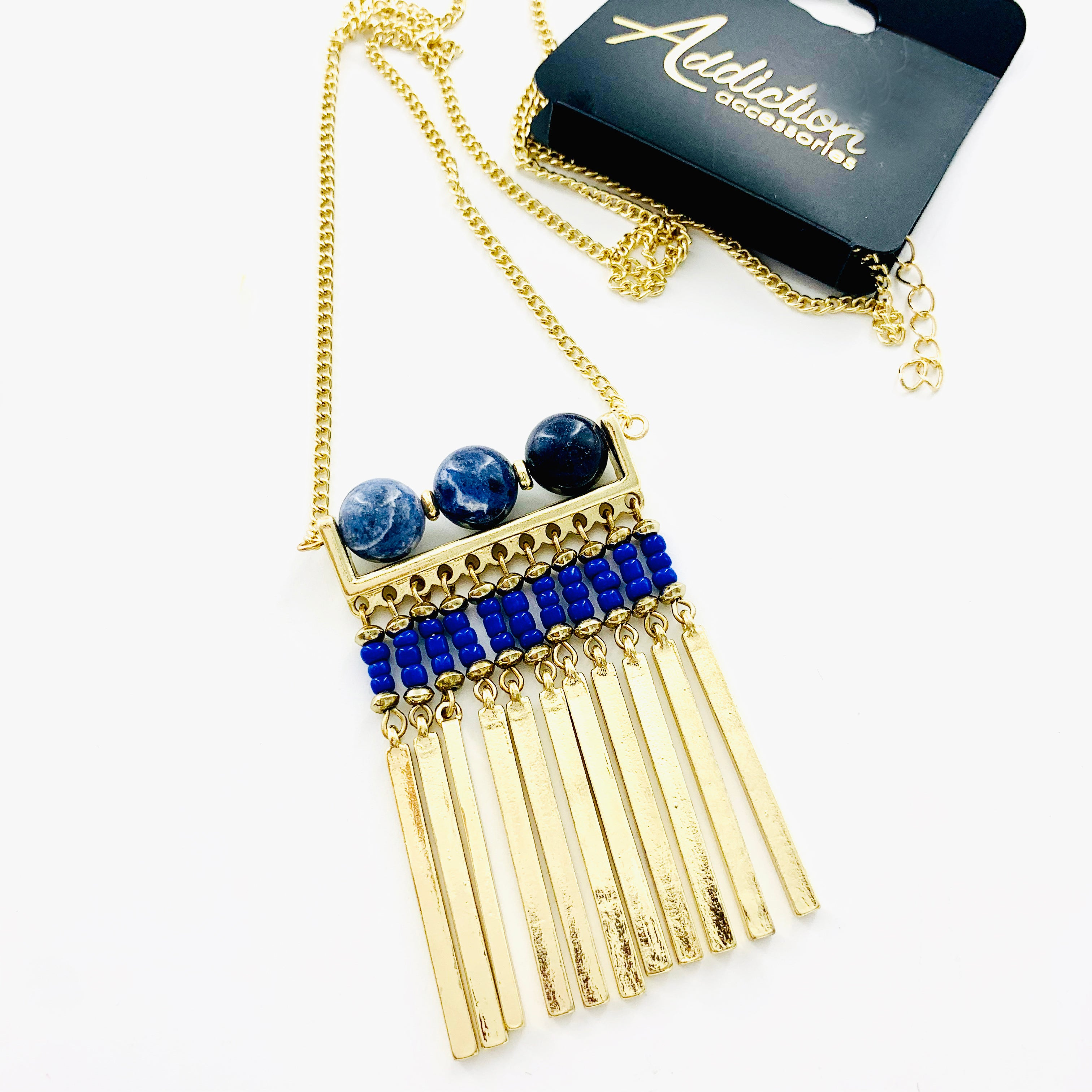 Necklace - Blue Bead and Gold Pendant on Gold Chain