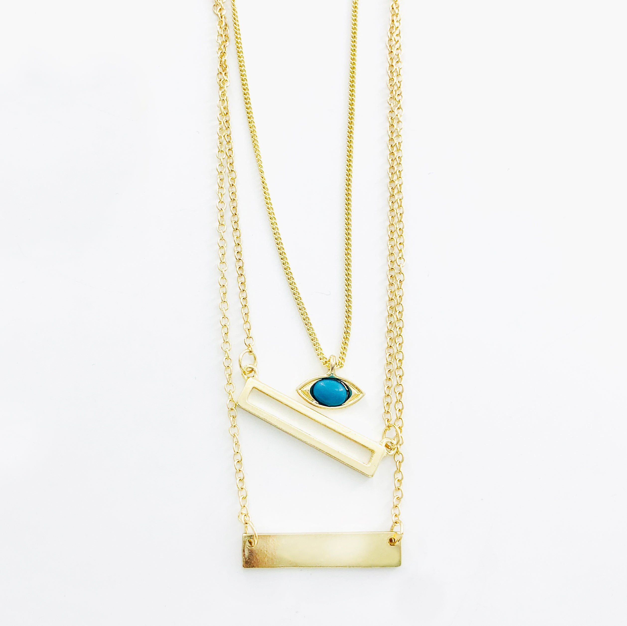 Necklace - Blue Turquoise Eye Pendant on Triple Gold Chain