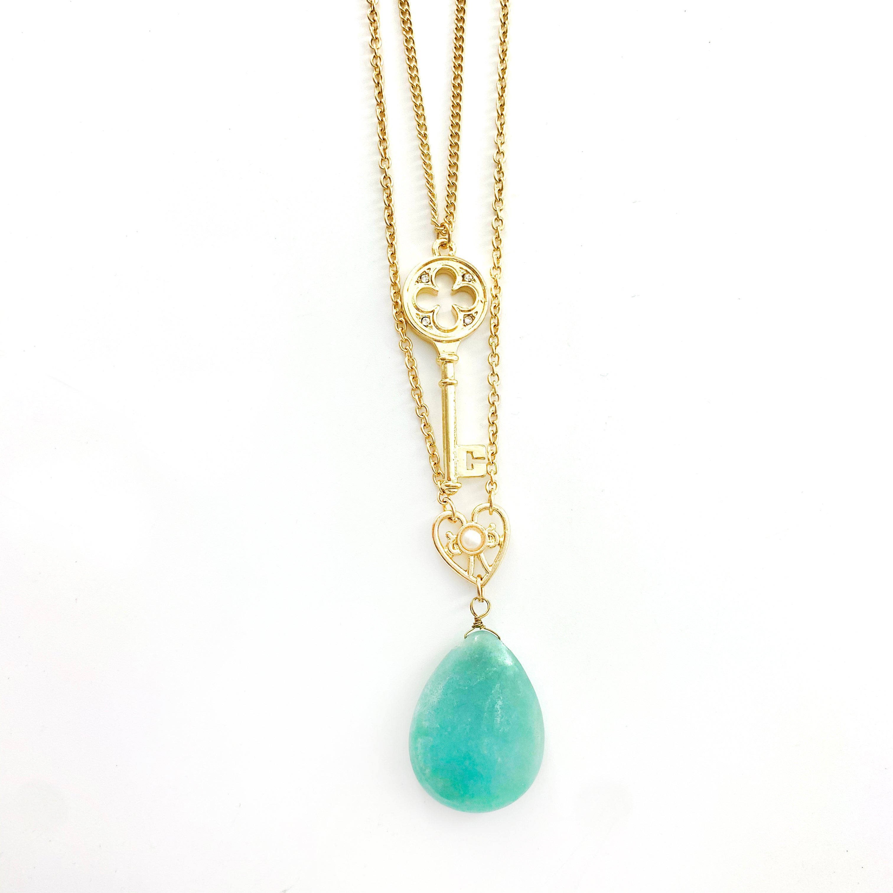Necklace - Jade Teardrop Stone and Gold Key Pendant on double Gold Chain