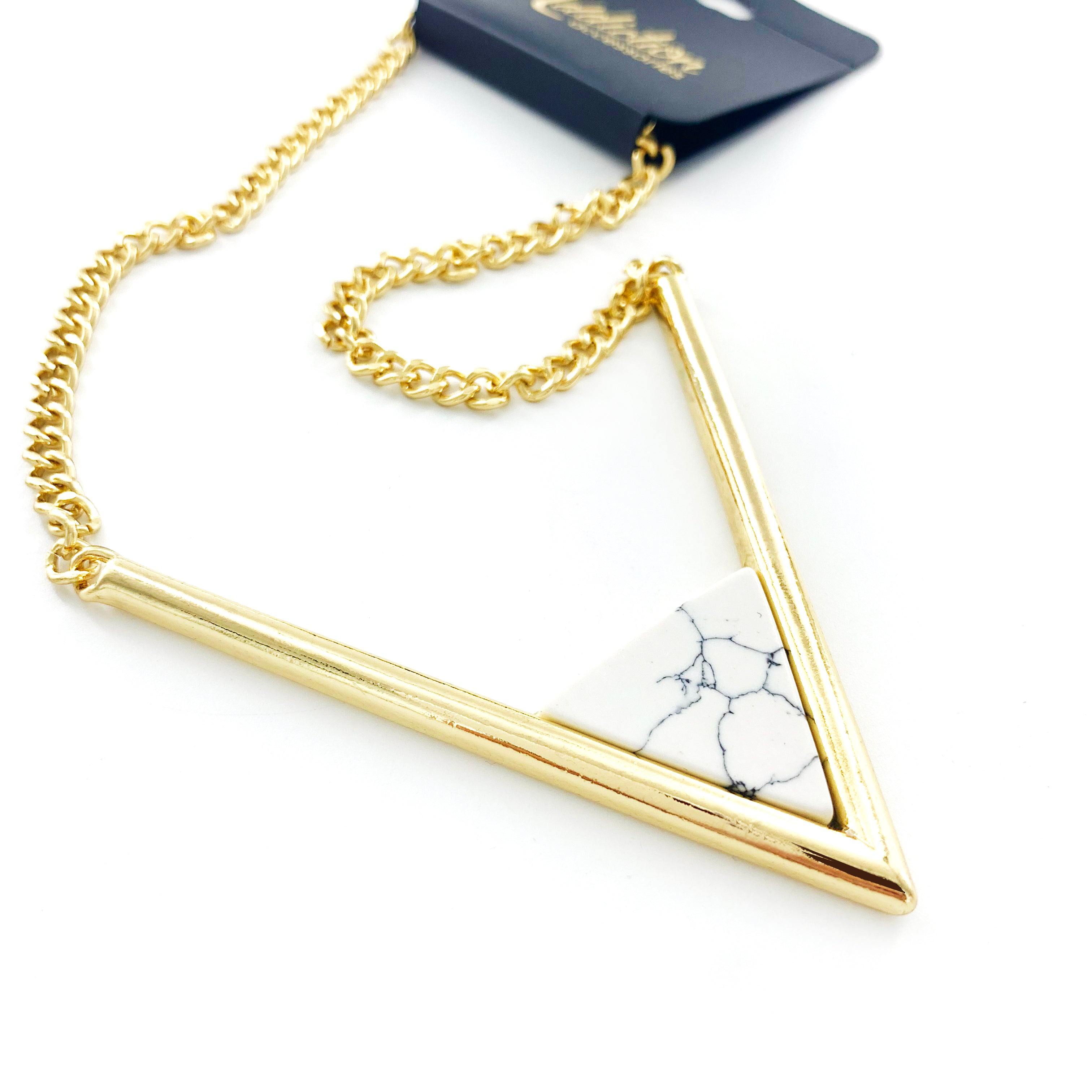 Large Marble Triangle Pendant on Short Gold Chain