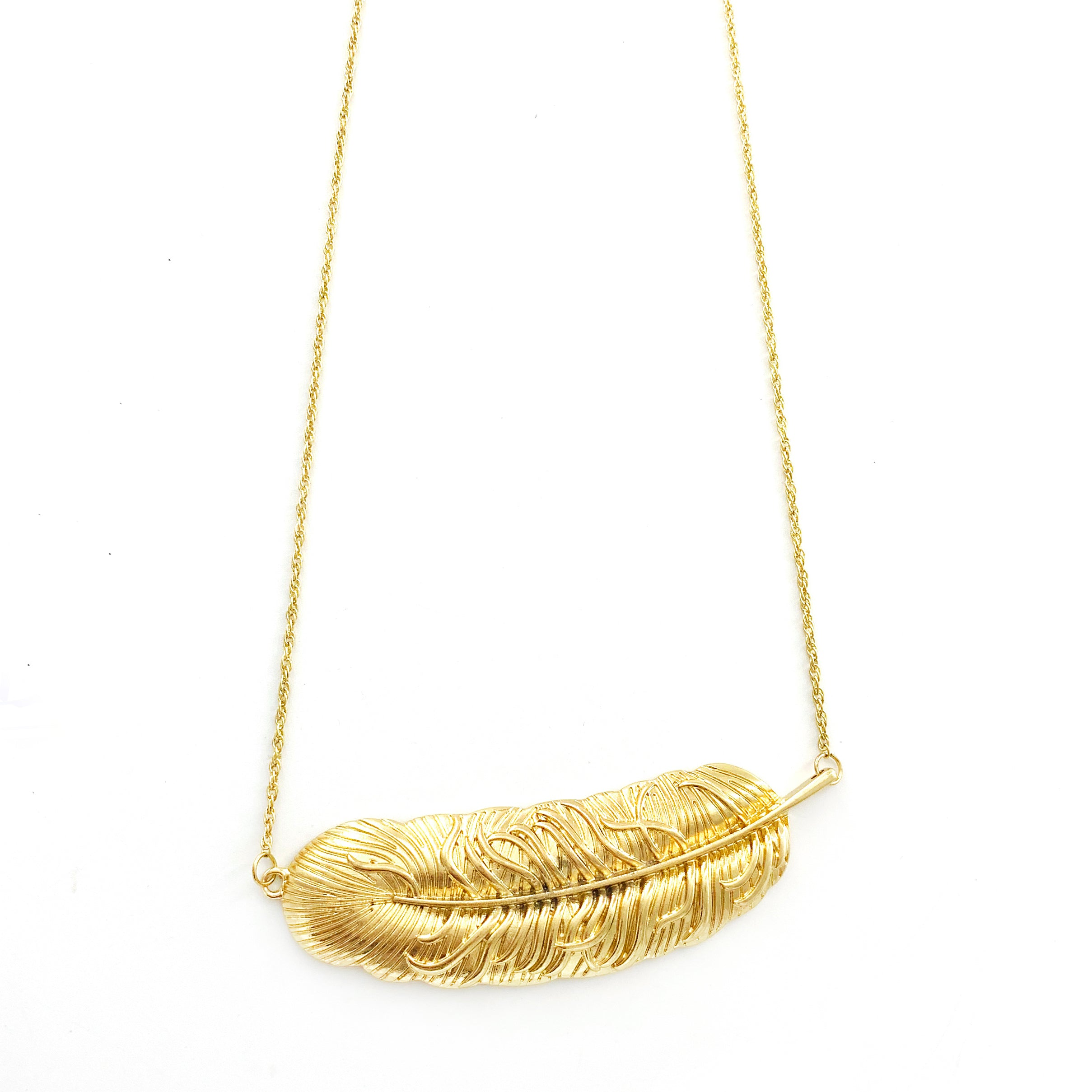Gold Leaf Pendant on Gold Chain