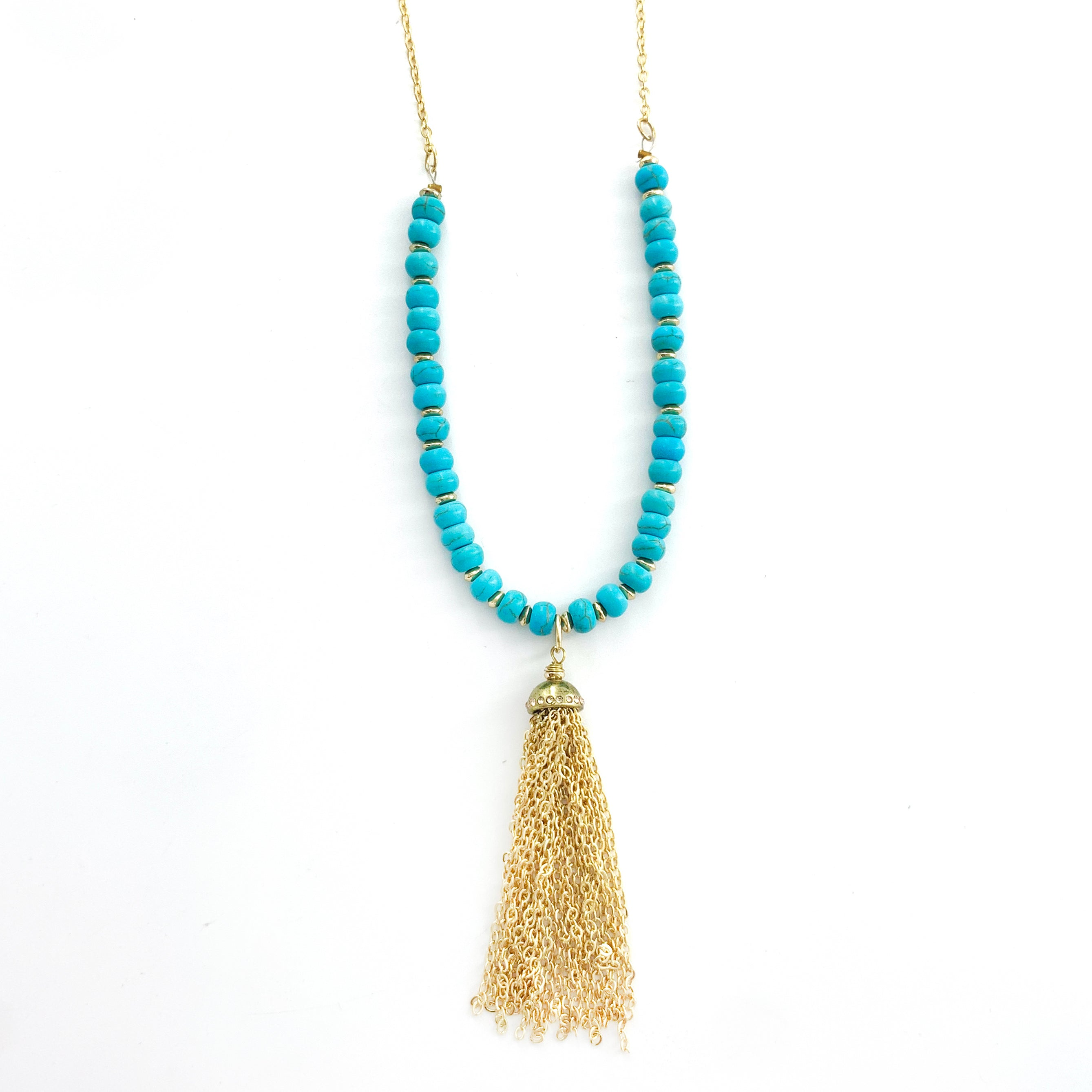 Turquoise Beads and Gold Tassel on Gold Chain