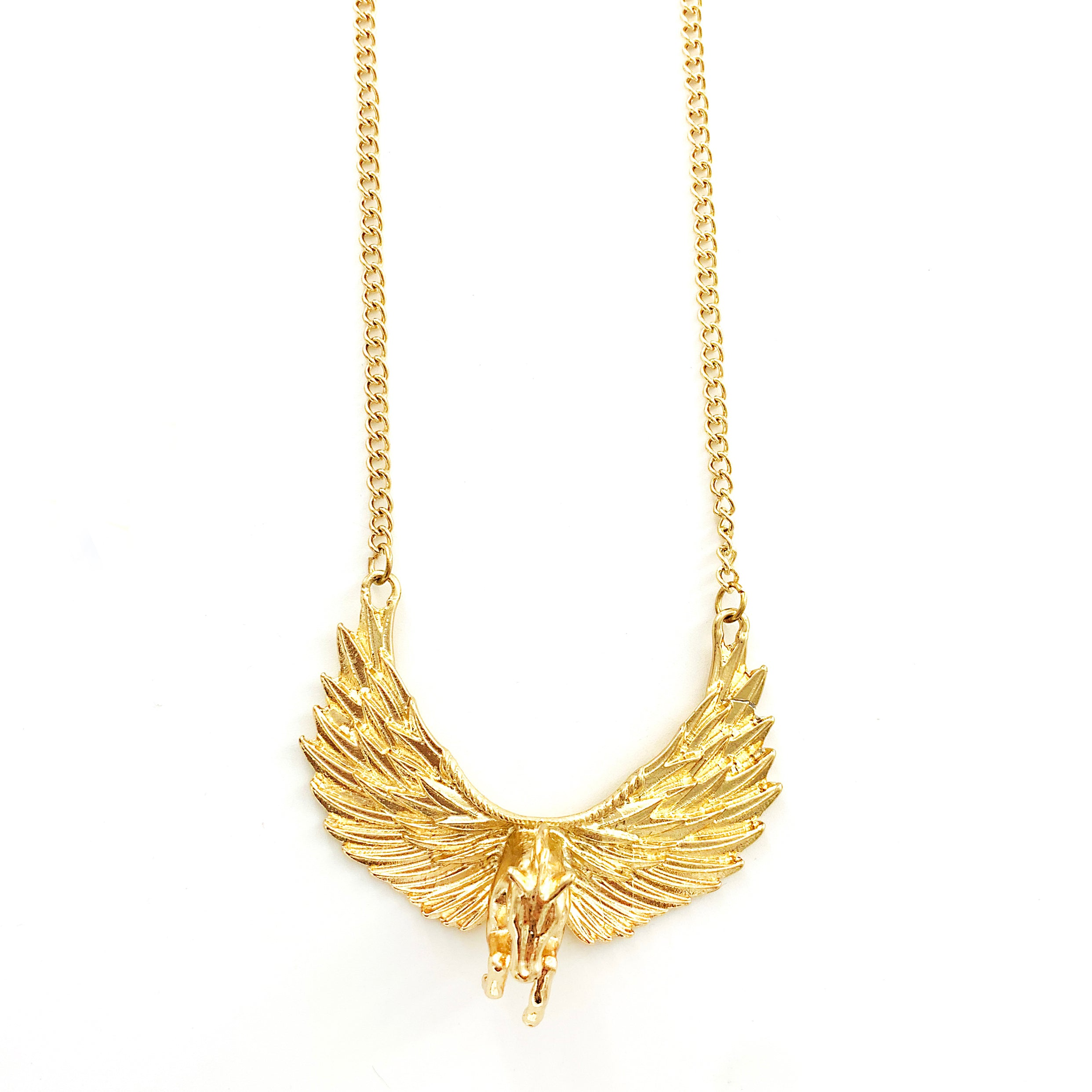 Gold Pegasus with Wings on Gold Chain