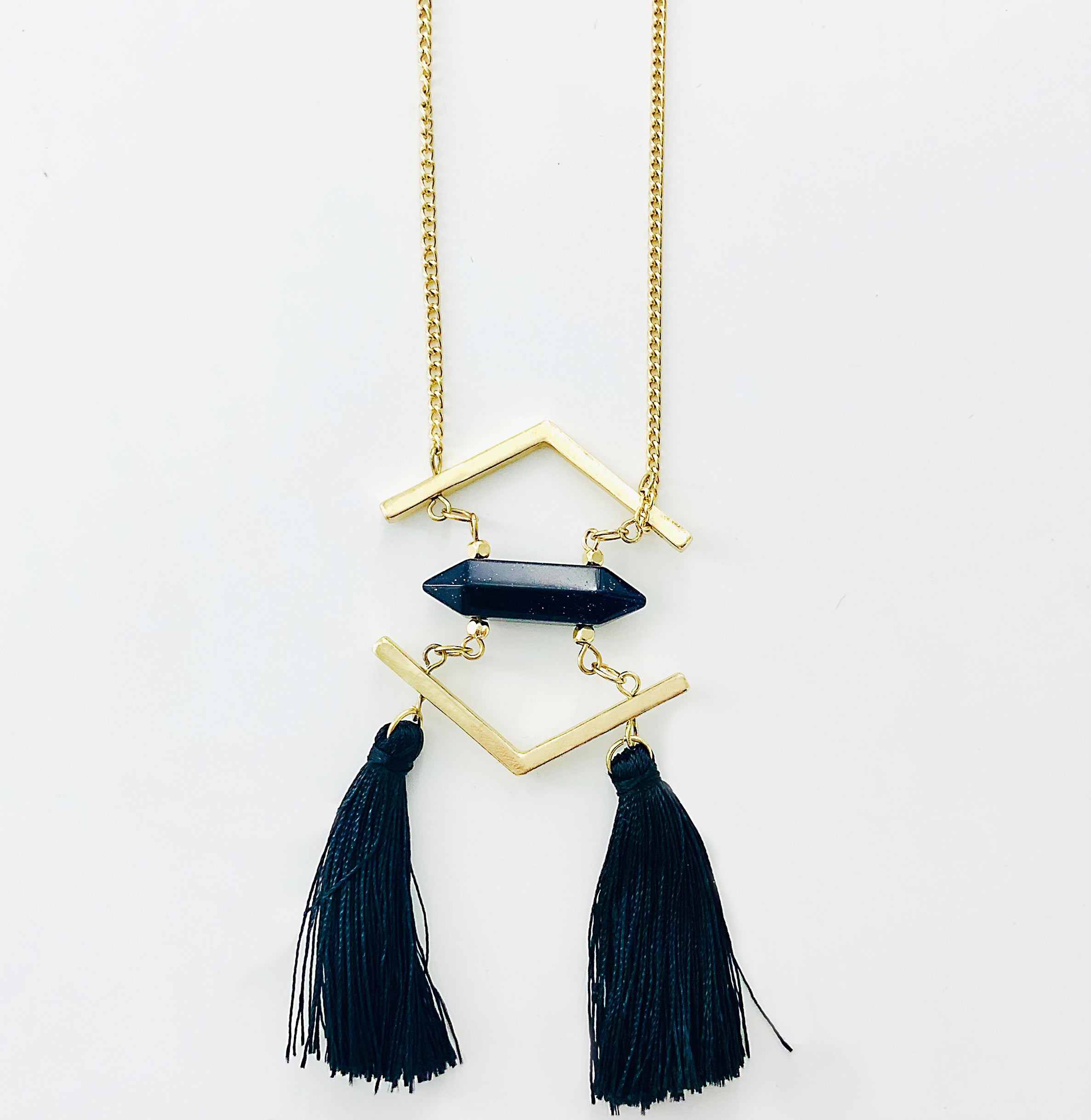 Black Stone with Tassels Pendant on Gold Chain