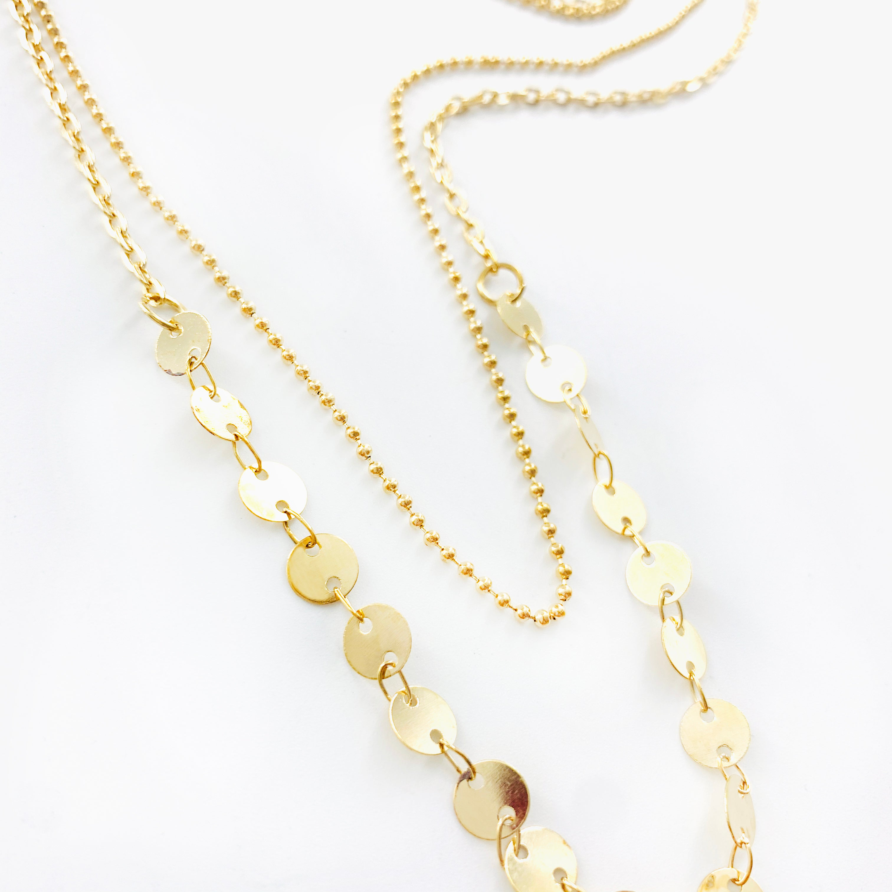Gold Circles and Beaded Double Chain