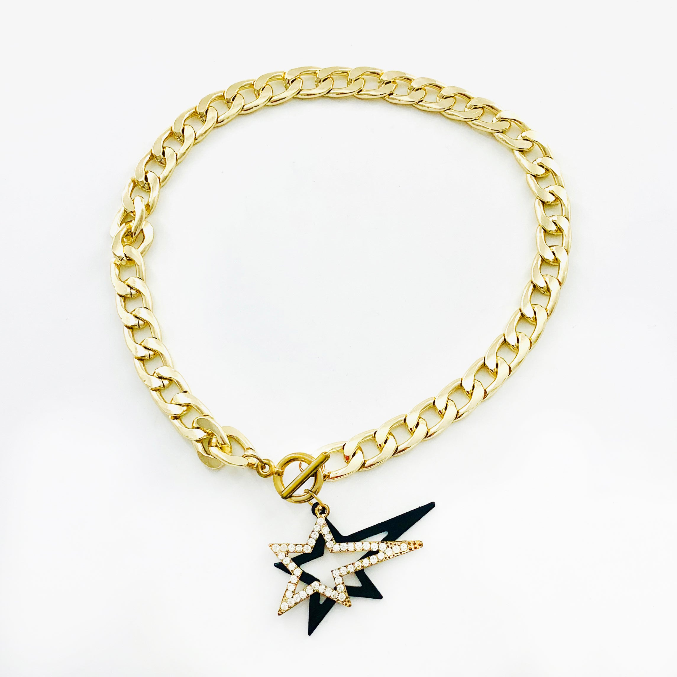 Diamante and Black Star Pendants on thick Gold Chain