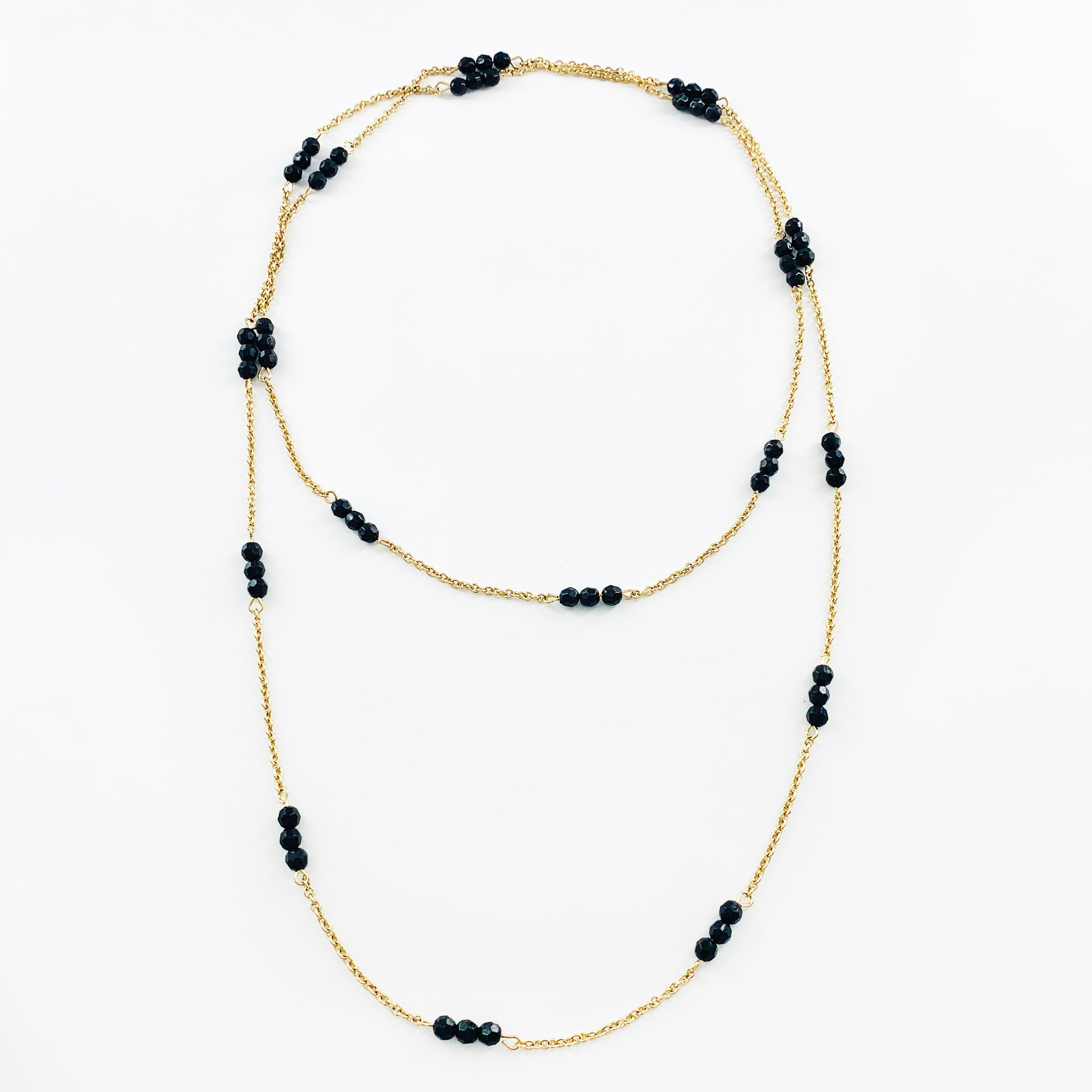 Black Facet Beads with Gold Chain Wrap Necklace