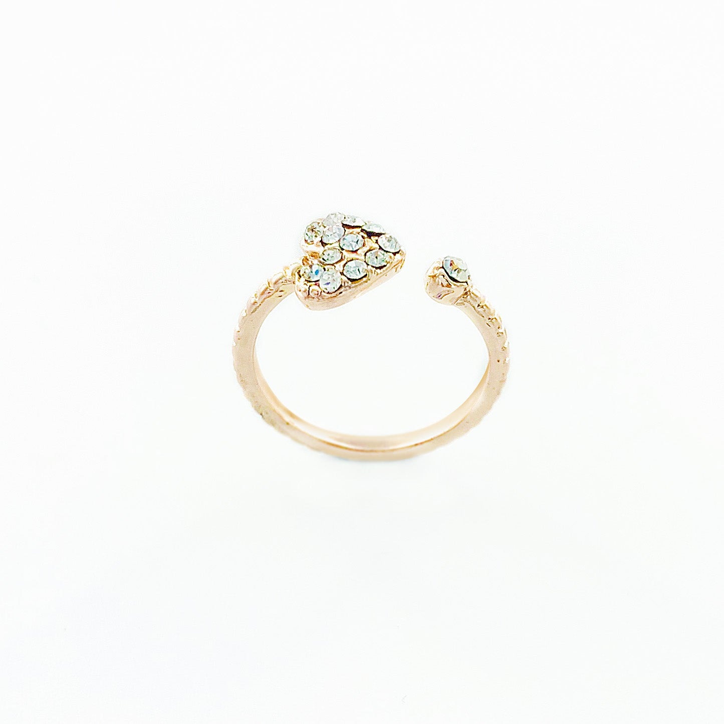 Rose gold ring with diamante heart