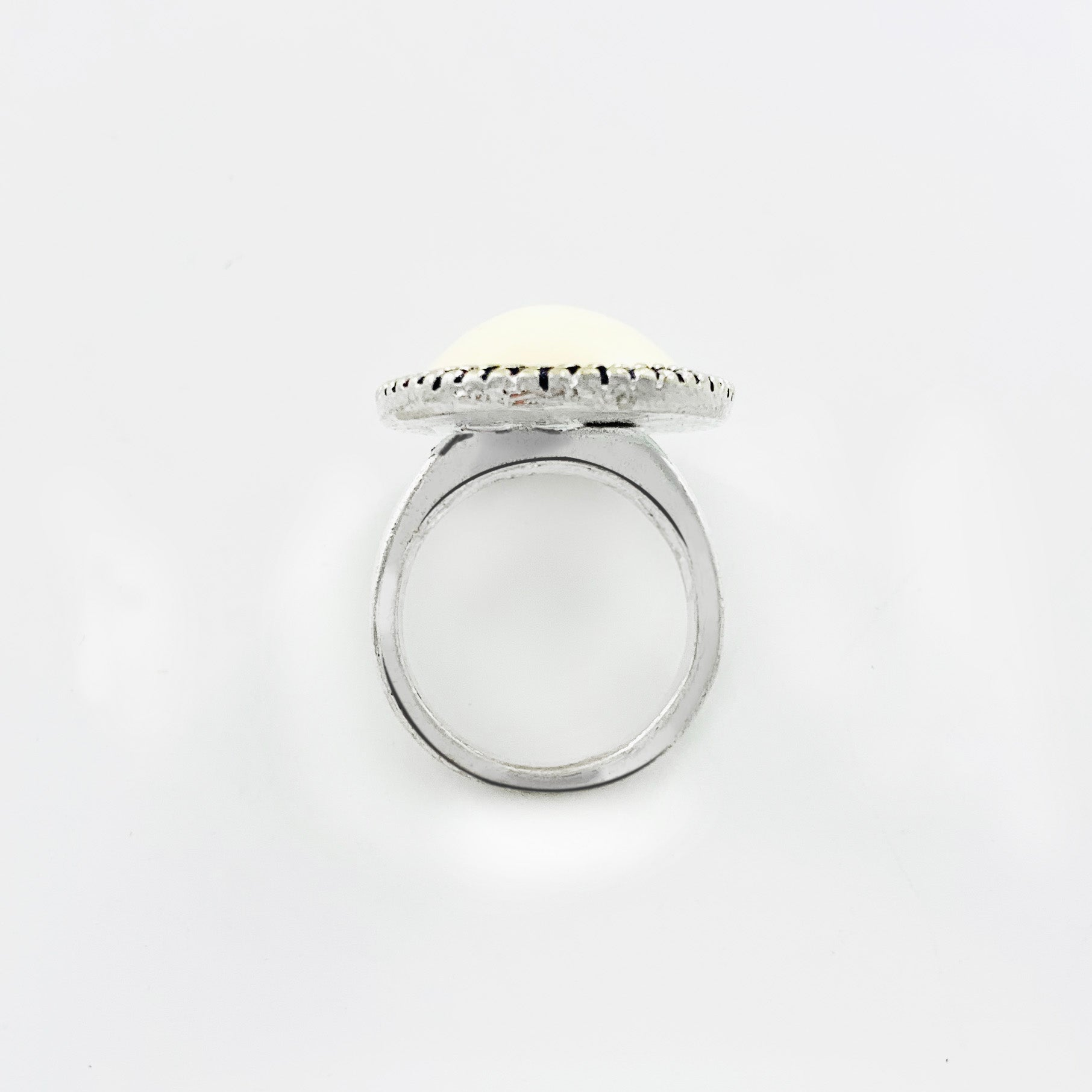 Silver ring with large ivory-coloured stone