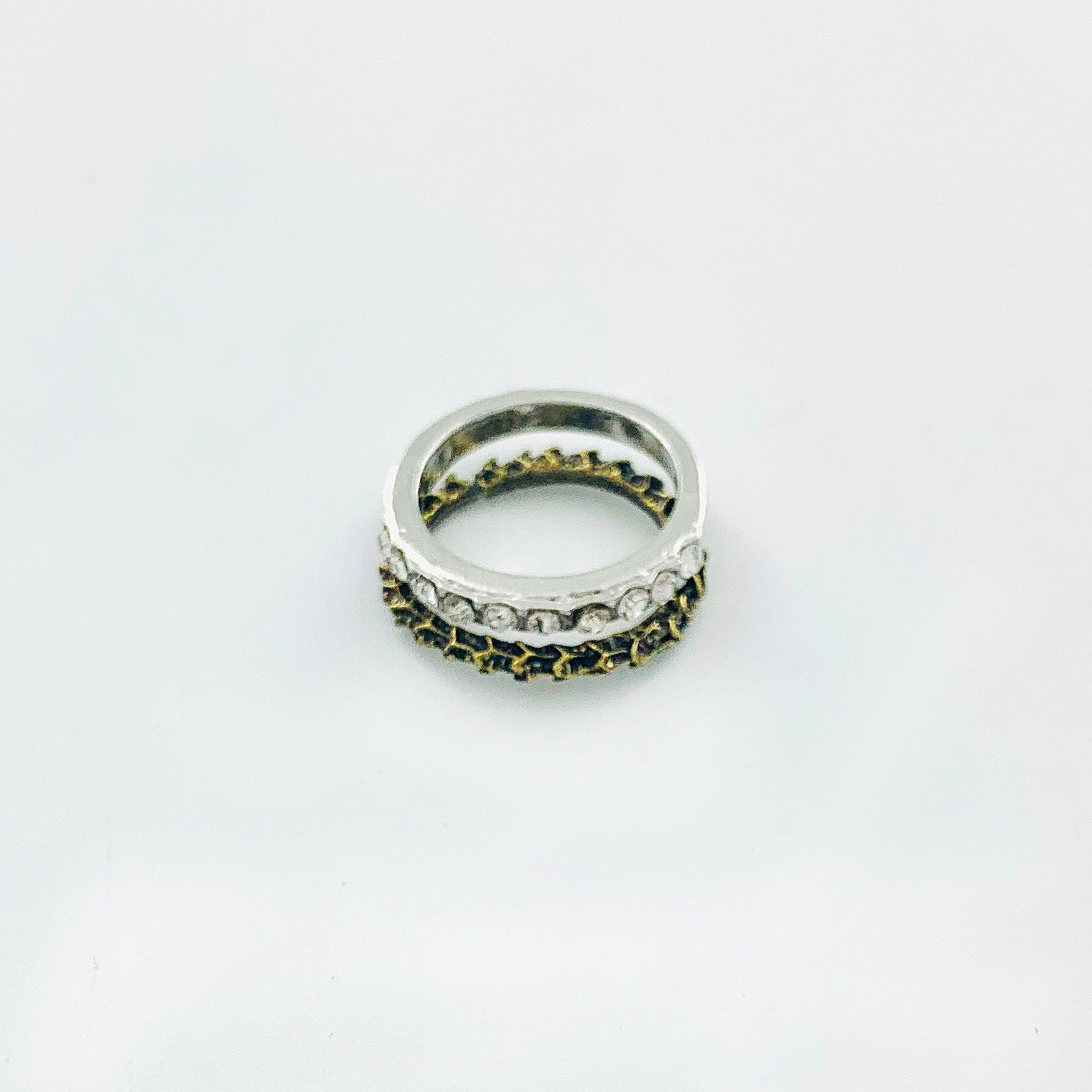 Silver ring with diamante with rustic gold ring