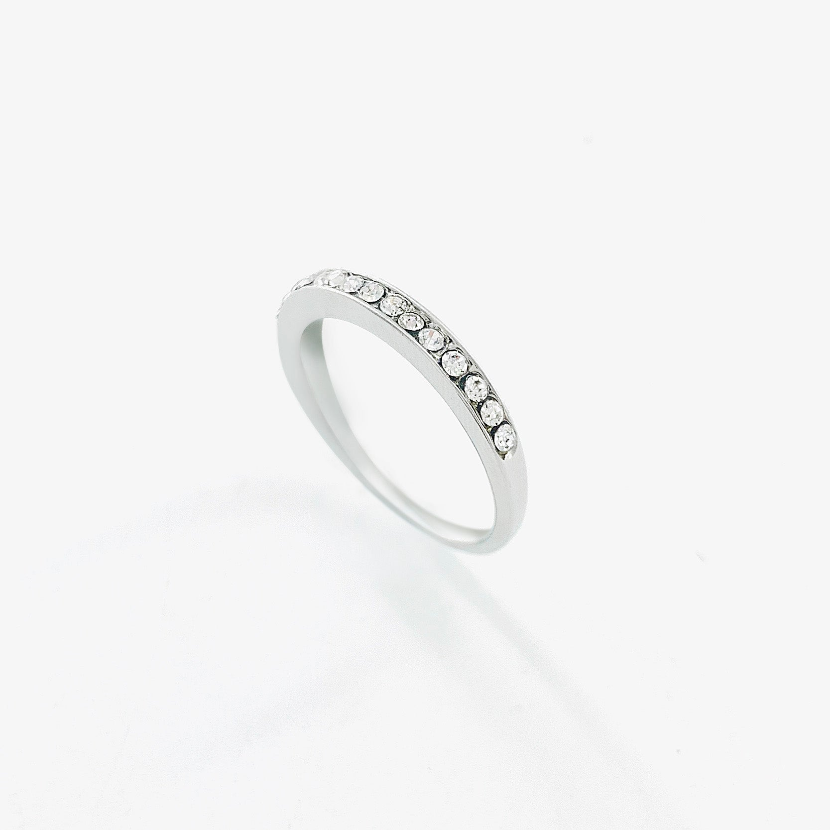 Thin Silver band with row of diamante stones