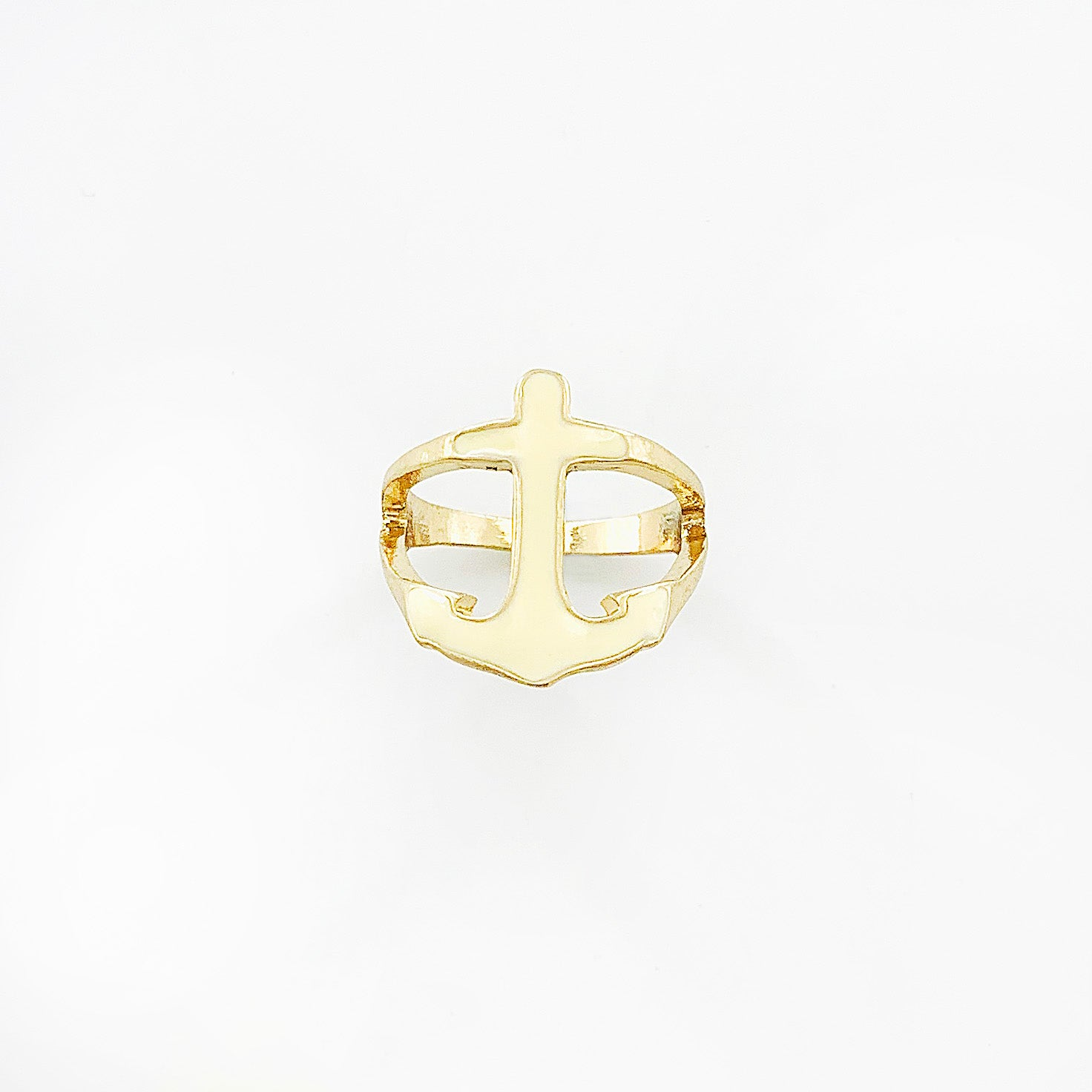 Gold ring with white enamel-printed anchor