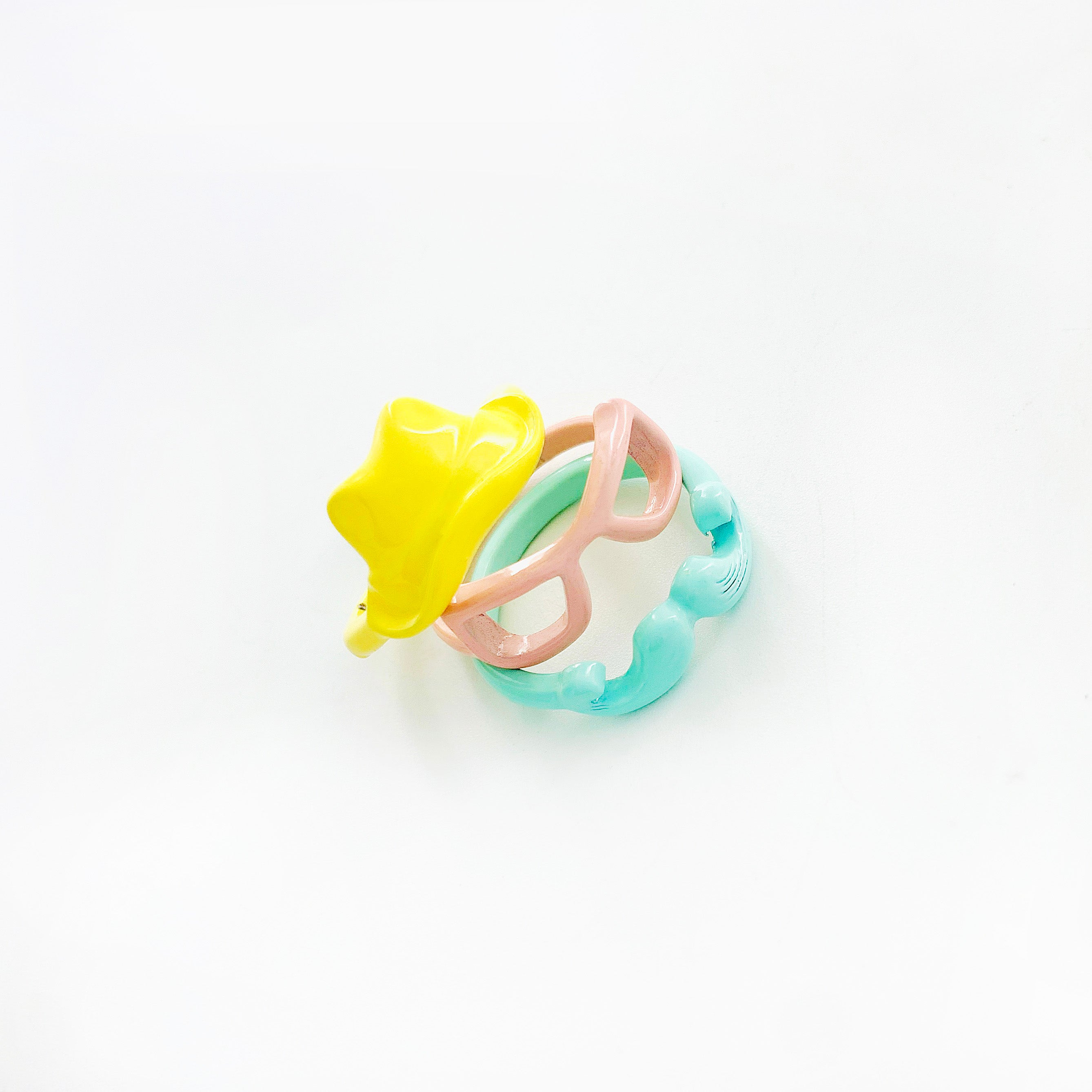 Enamel painted mint green moustache ring