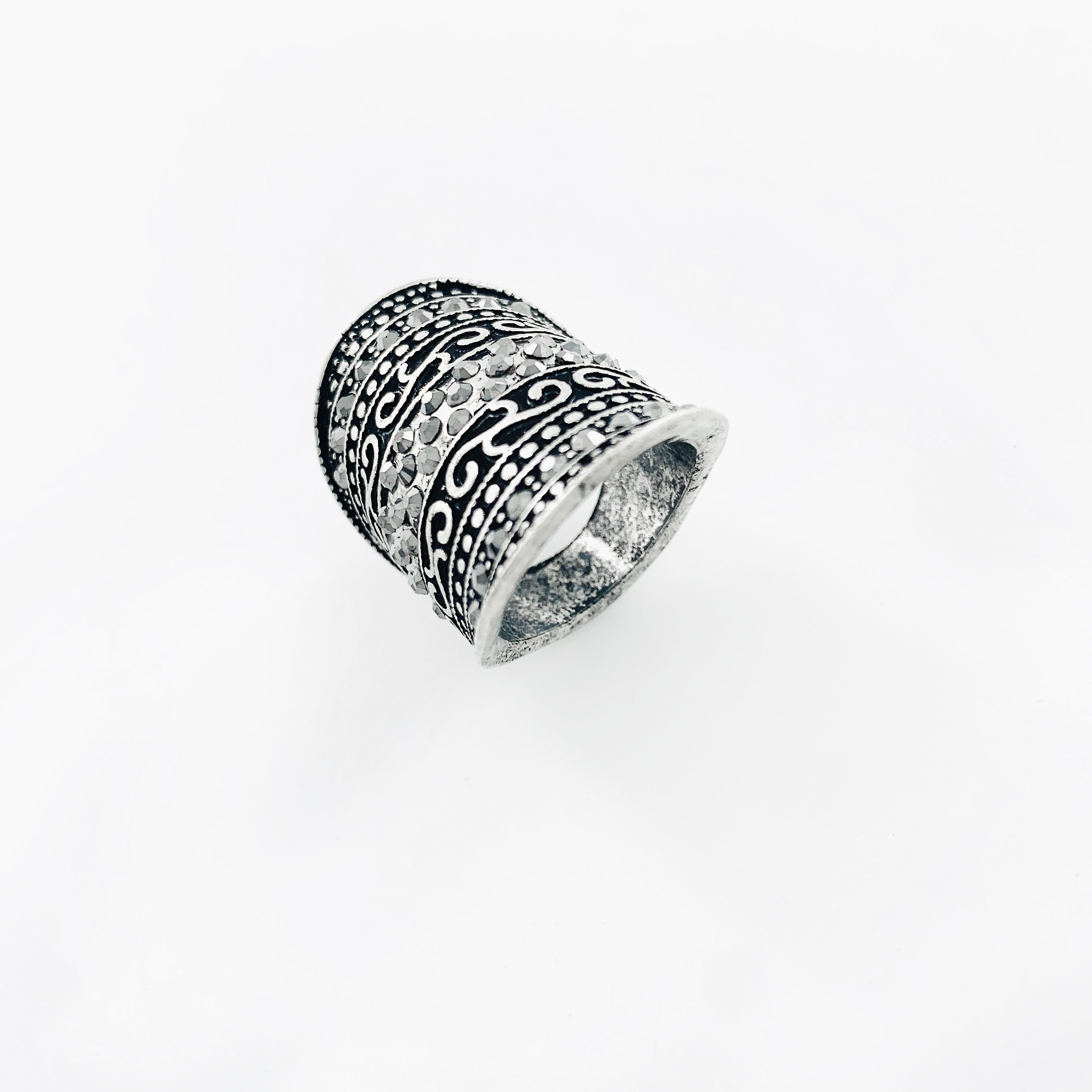 Art-deco inspired black and silver ring