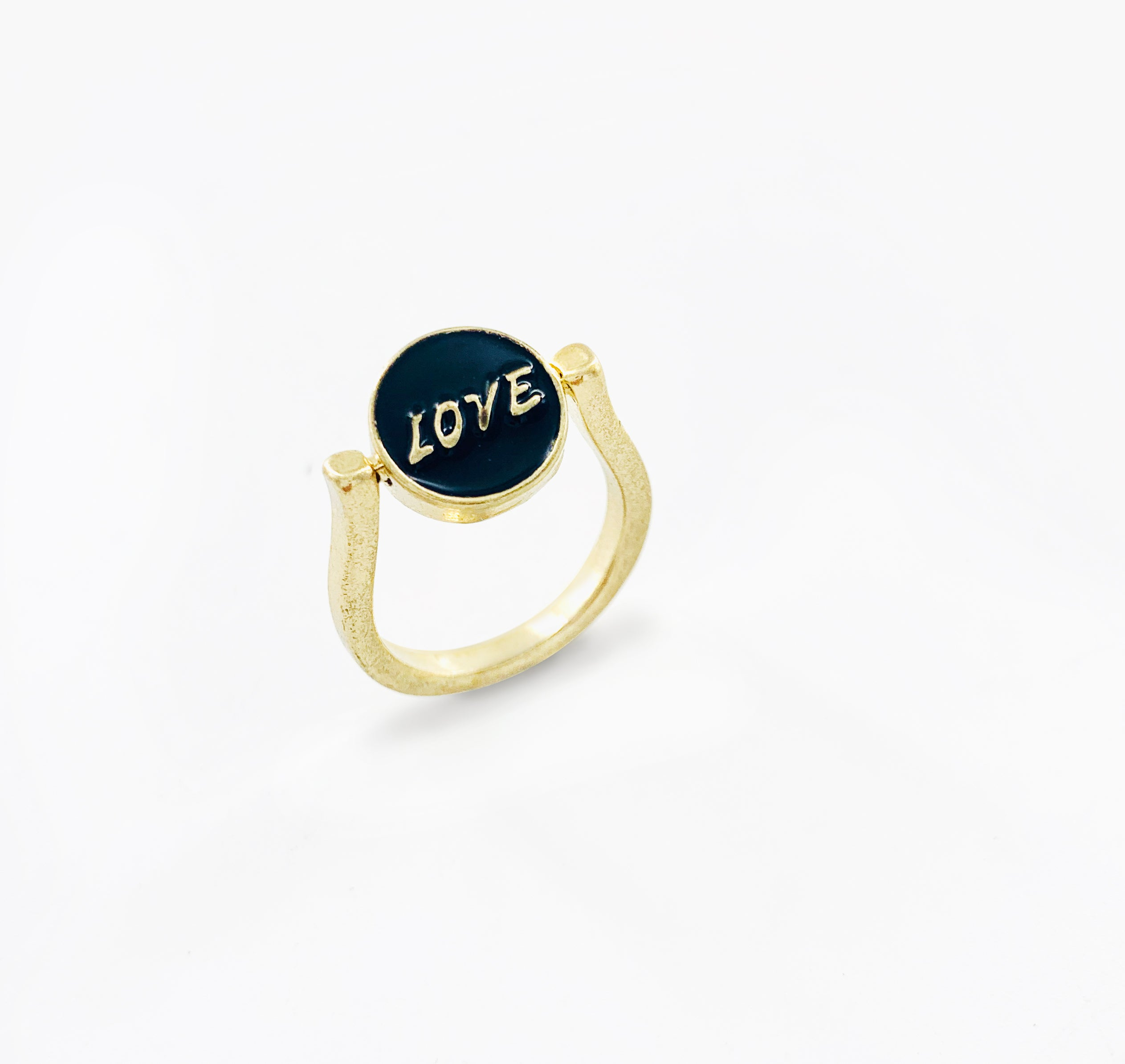 Ring with rotating Love/Dream disc in Black