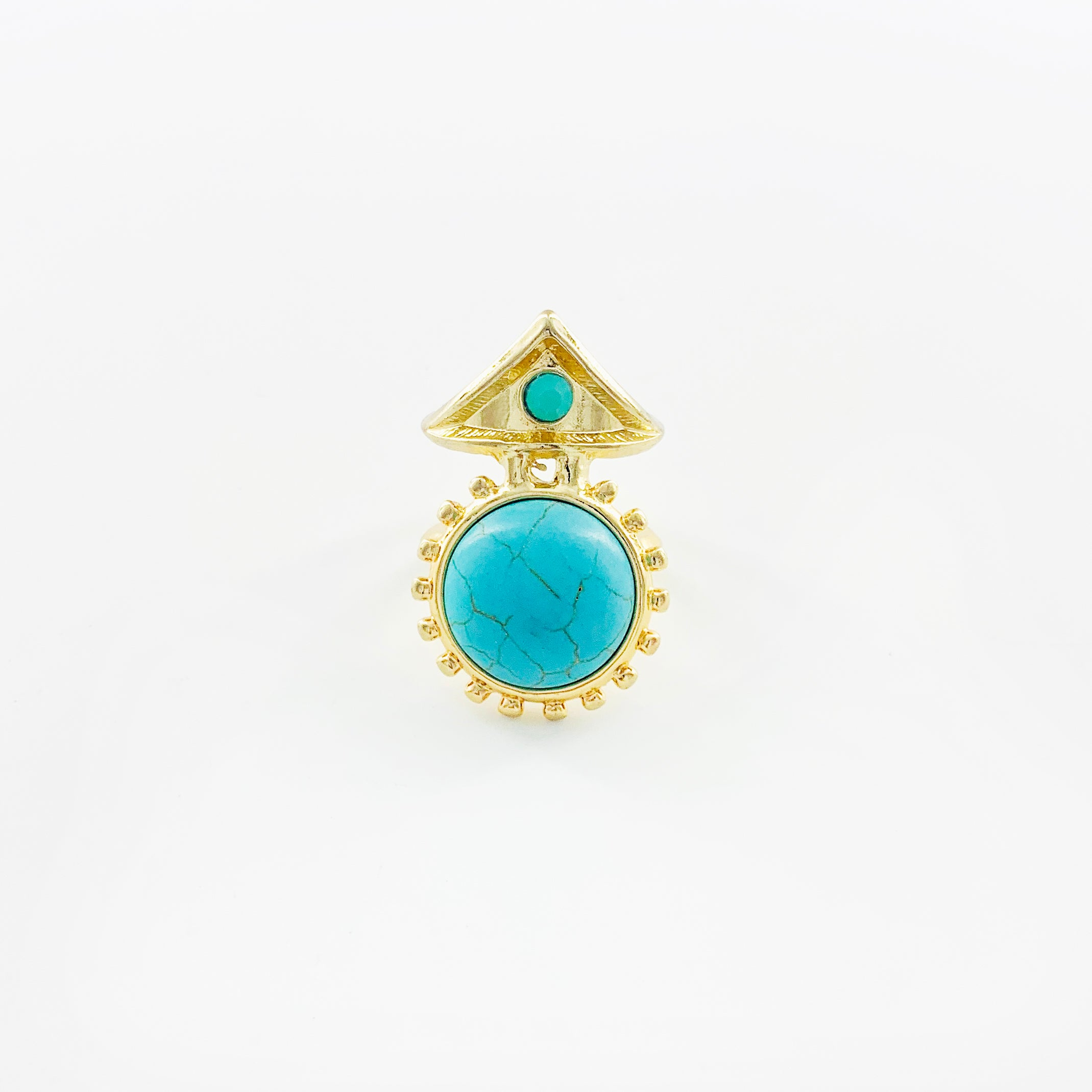 Egyptian-inspired turquoise stone gold ring