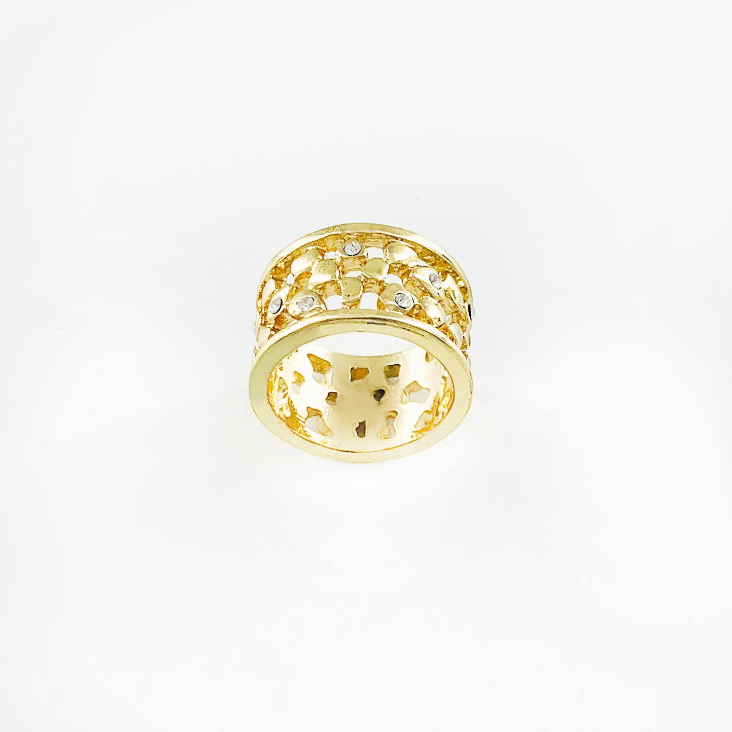 Wide gold ring with lattice design and diamante stones