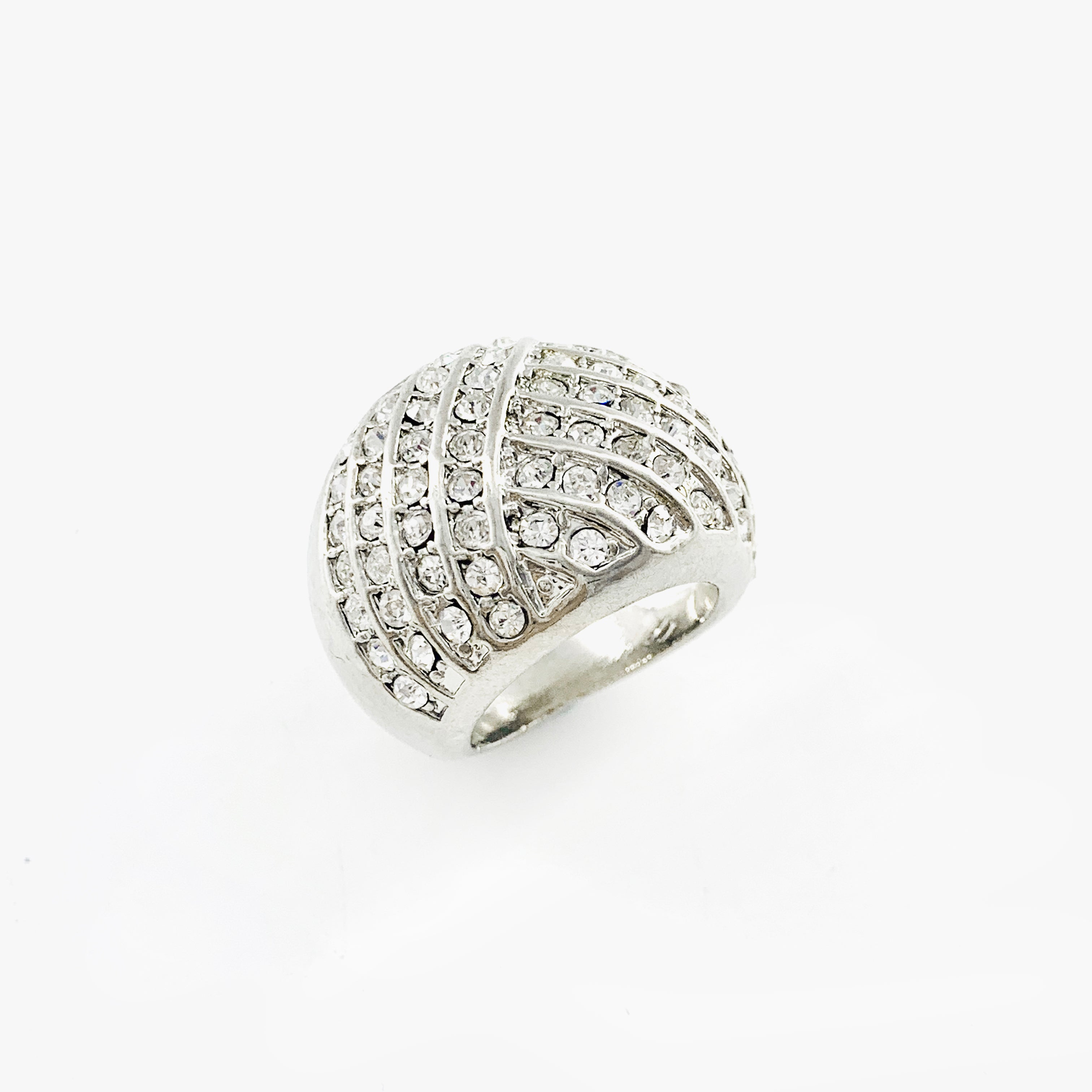 Chunky silver ring with diamante stones