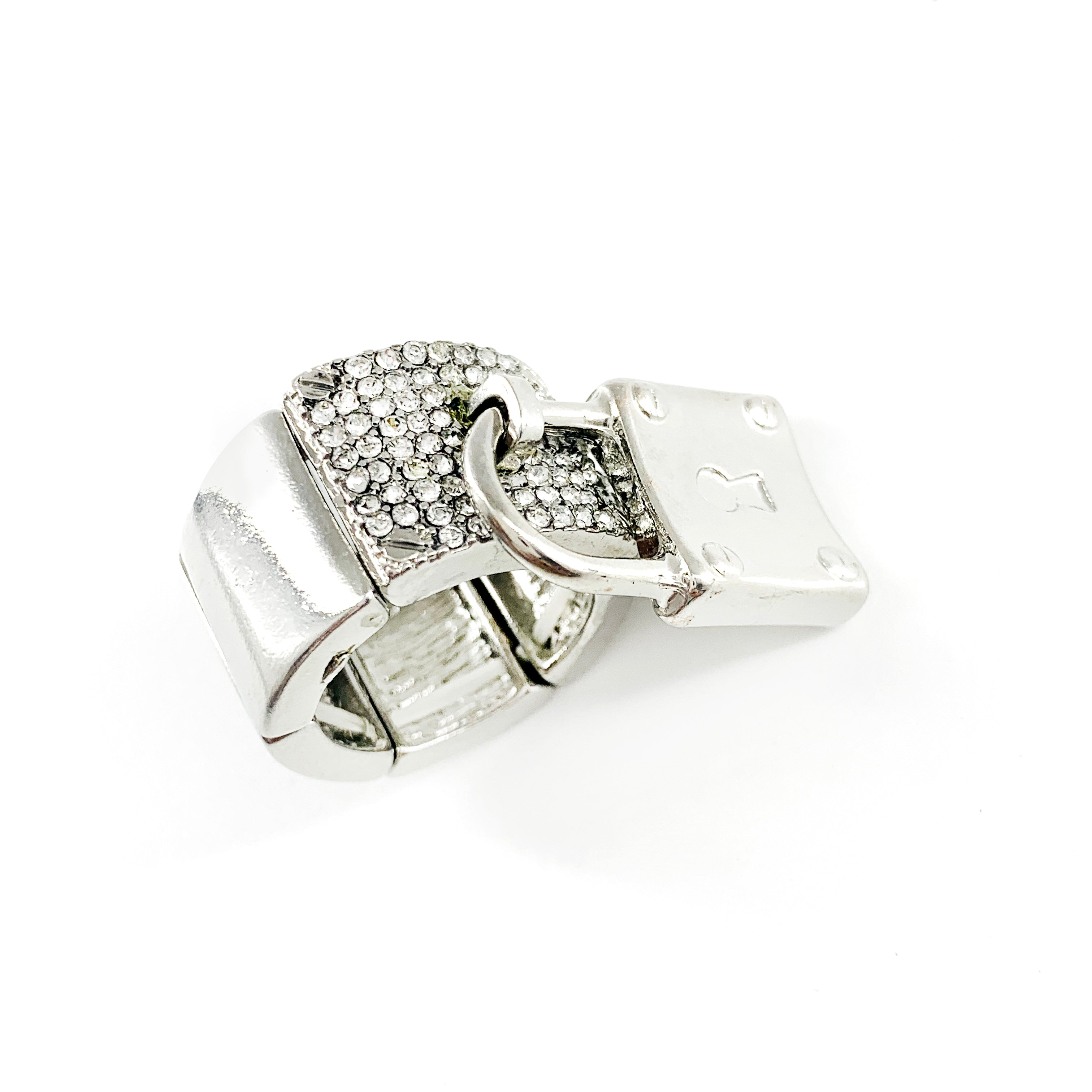 Chunky diamante ring with lock charm and elastic band