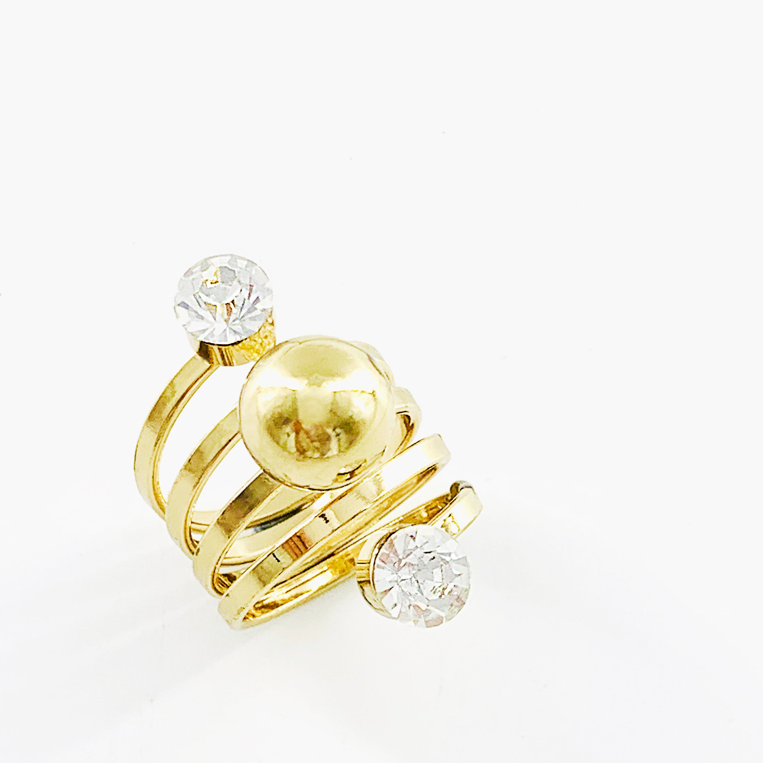 Gold ring with gold ball and diamante stones
