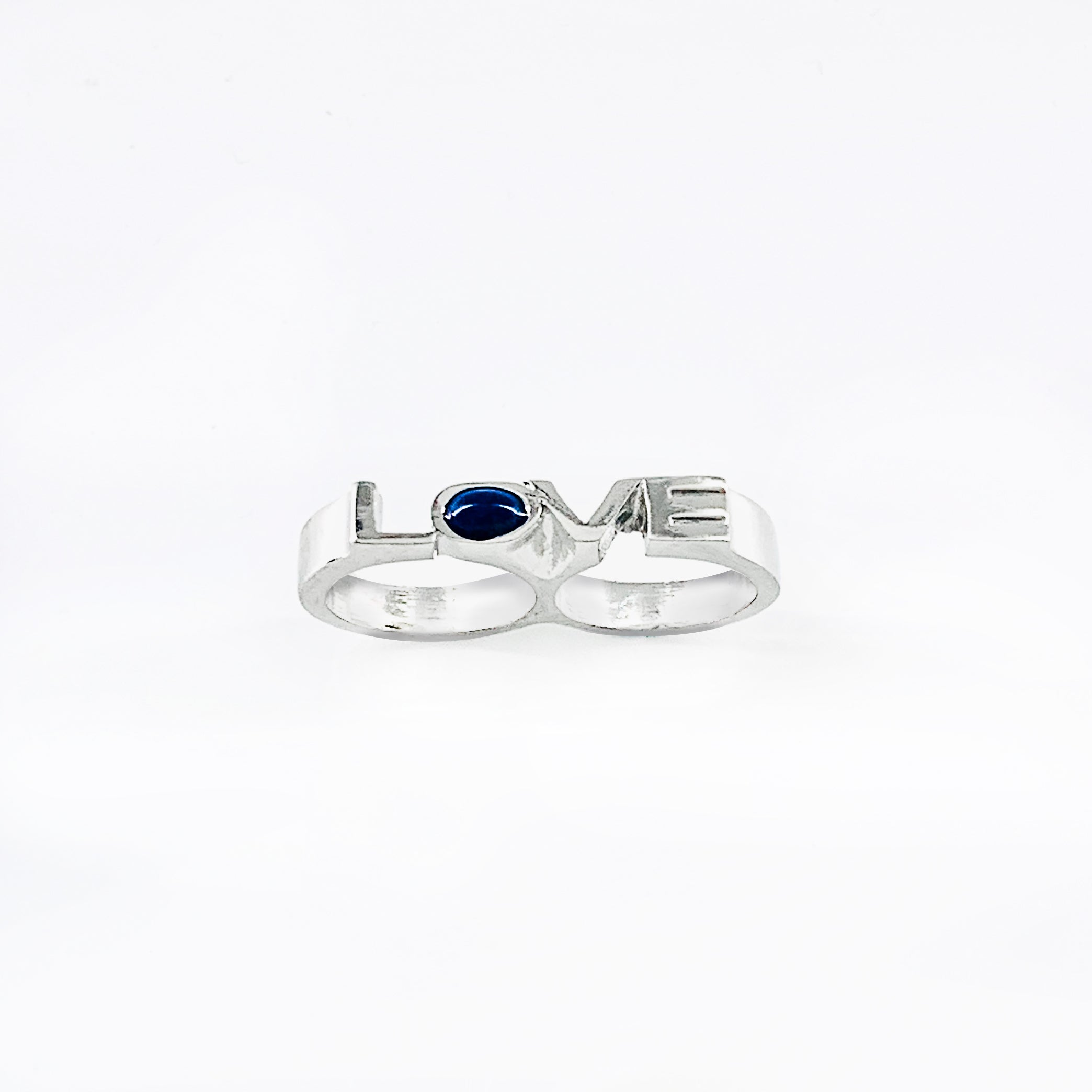 Love chunky ring with blue stone