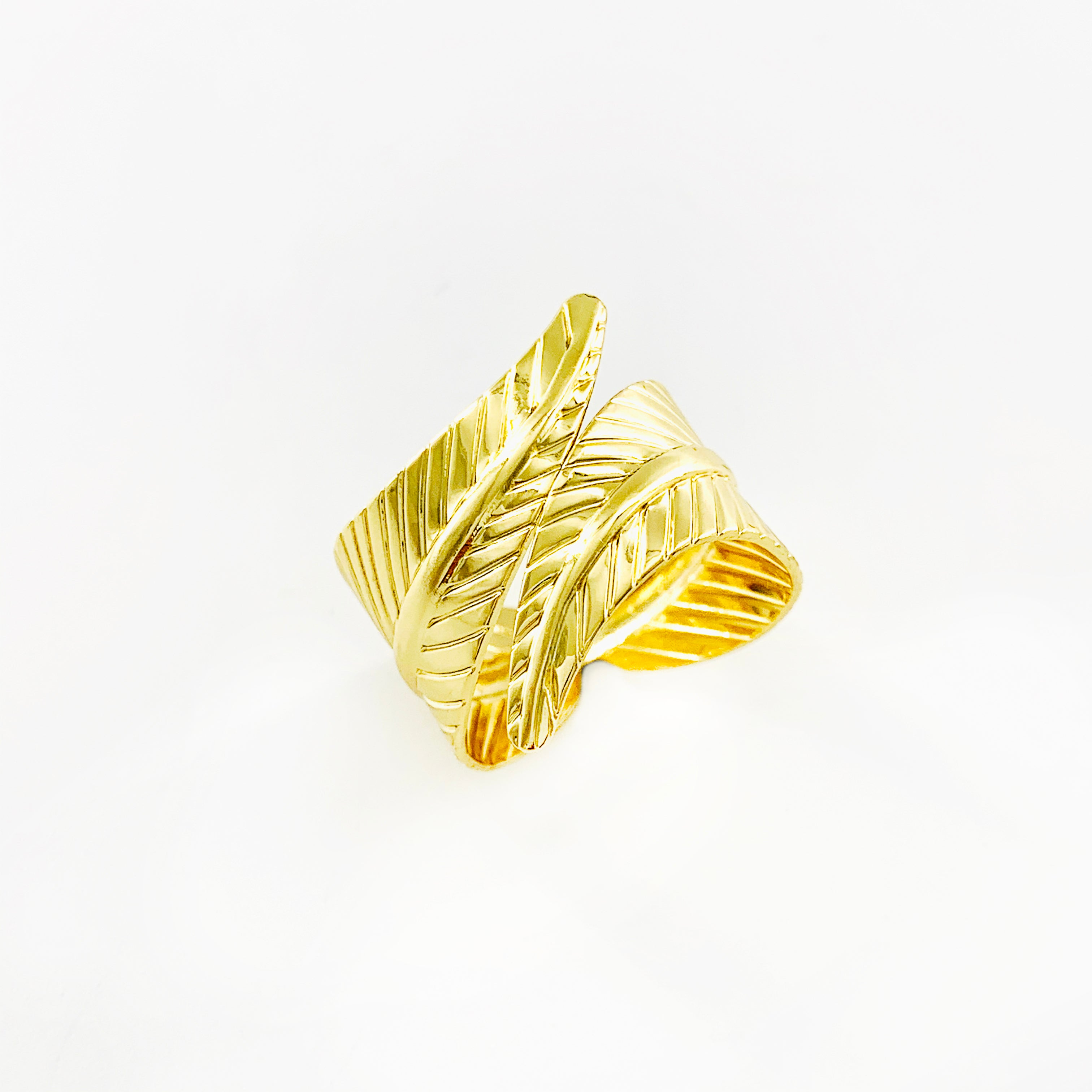 Wraparound gold leaf ring