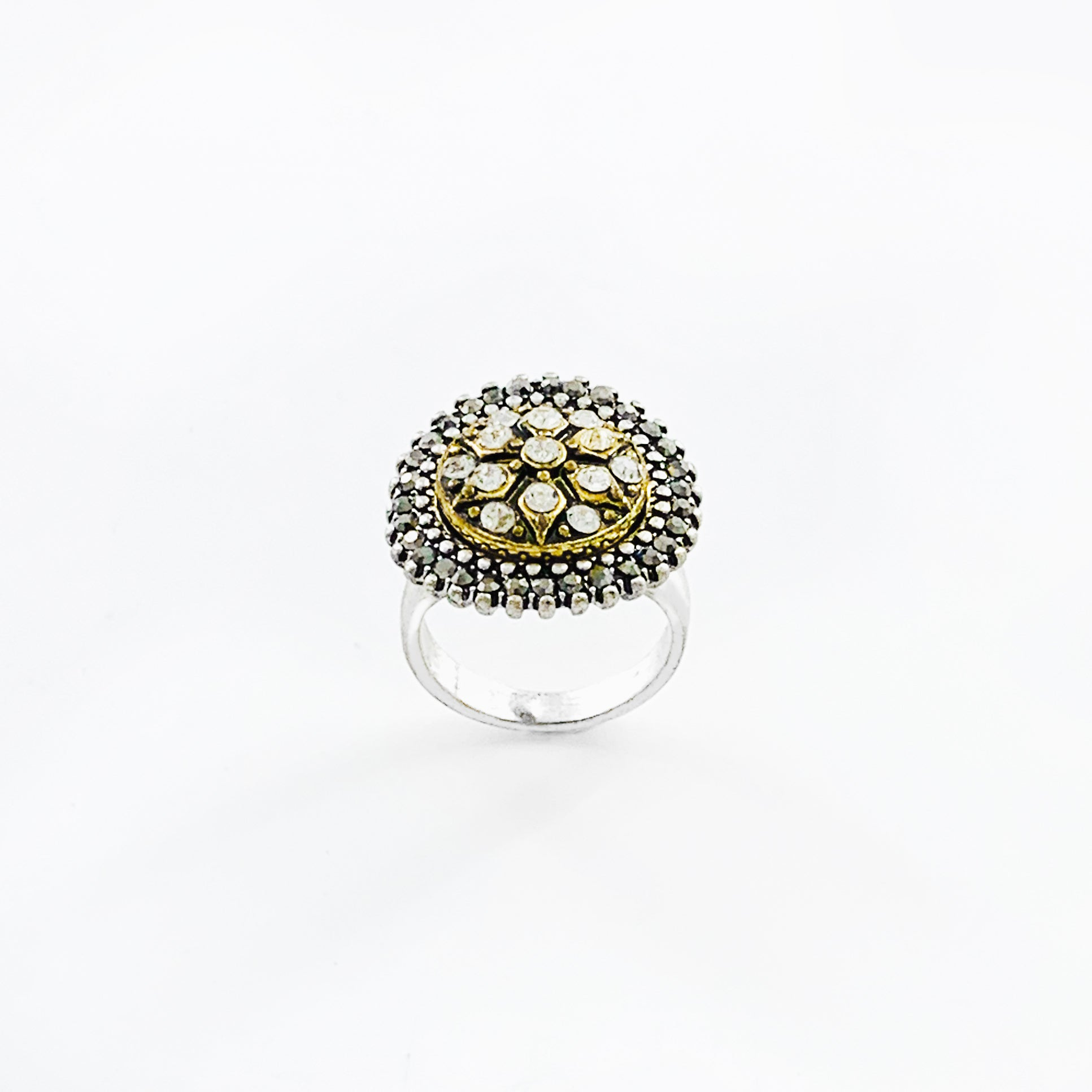 Silver ring with diamante studs in gold and grey