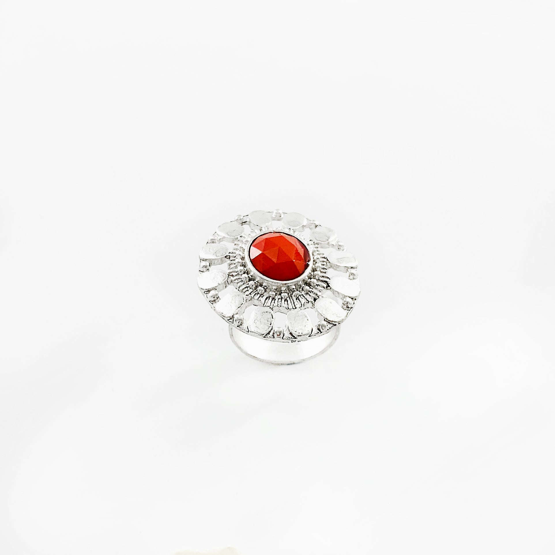 Art deco inspired silver ring with red stone