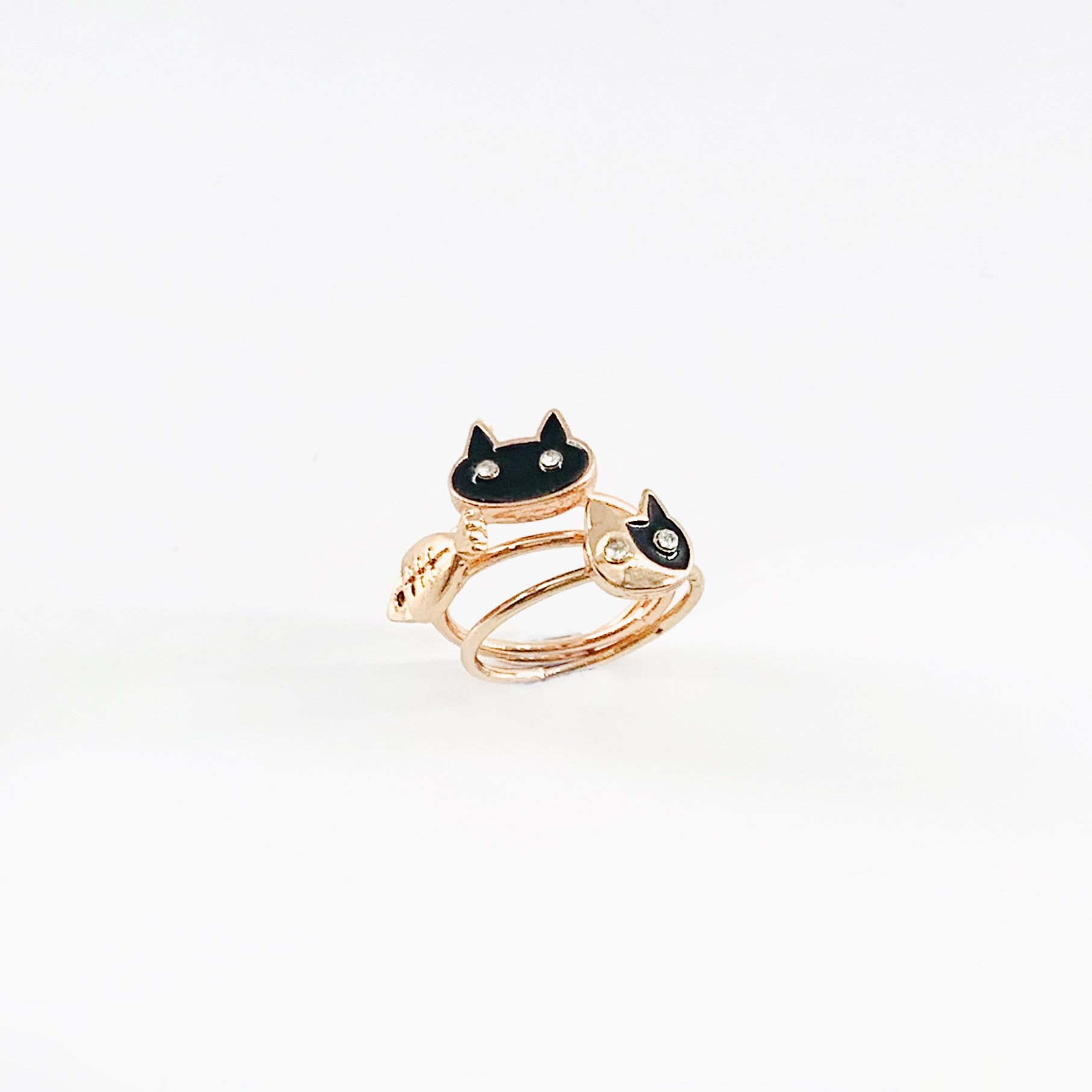Cats and fish rose gold pinky rings