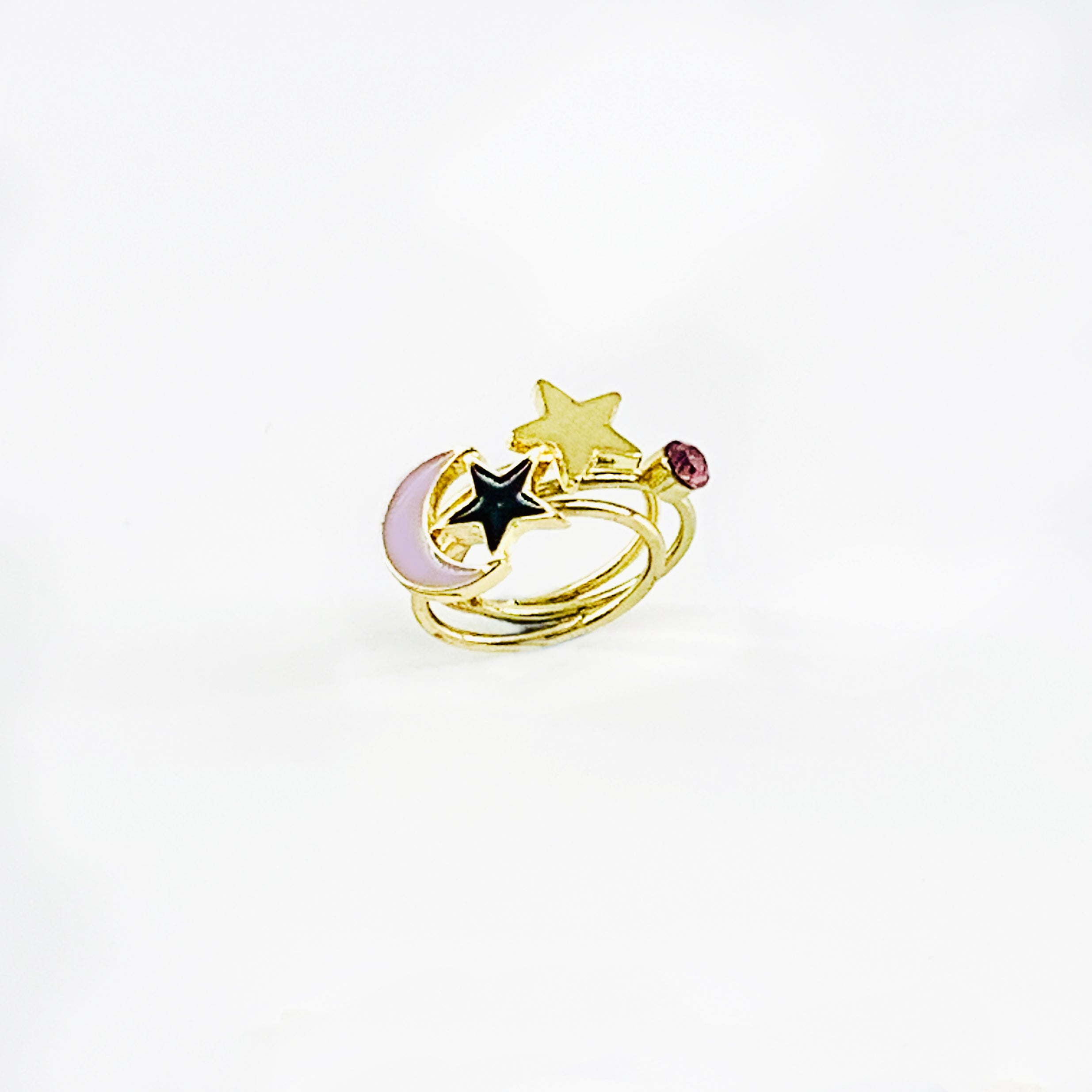 Gold pinky rings with lavender crescent and stars