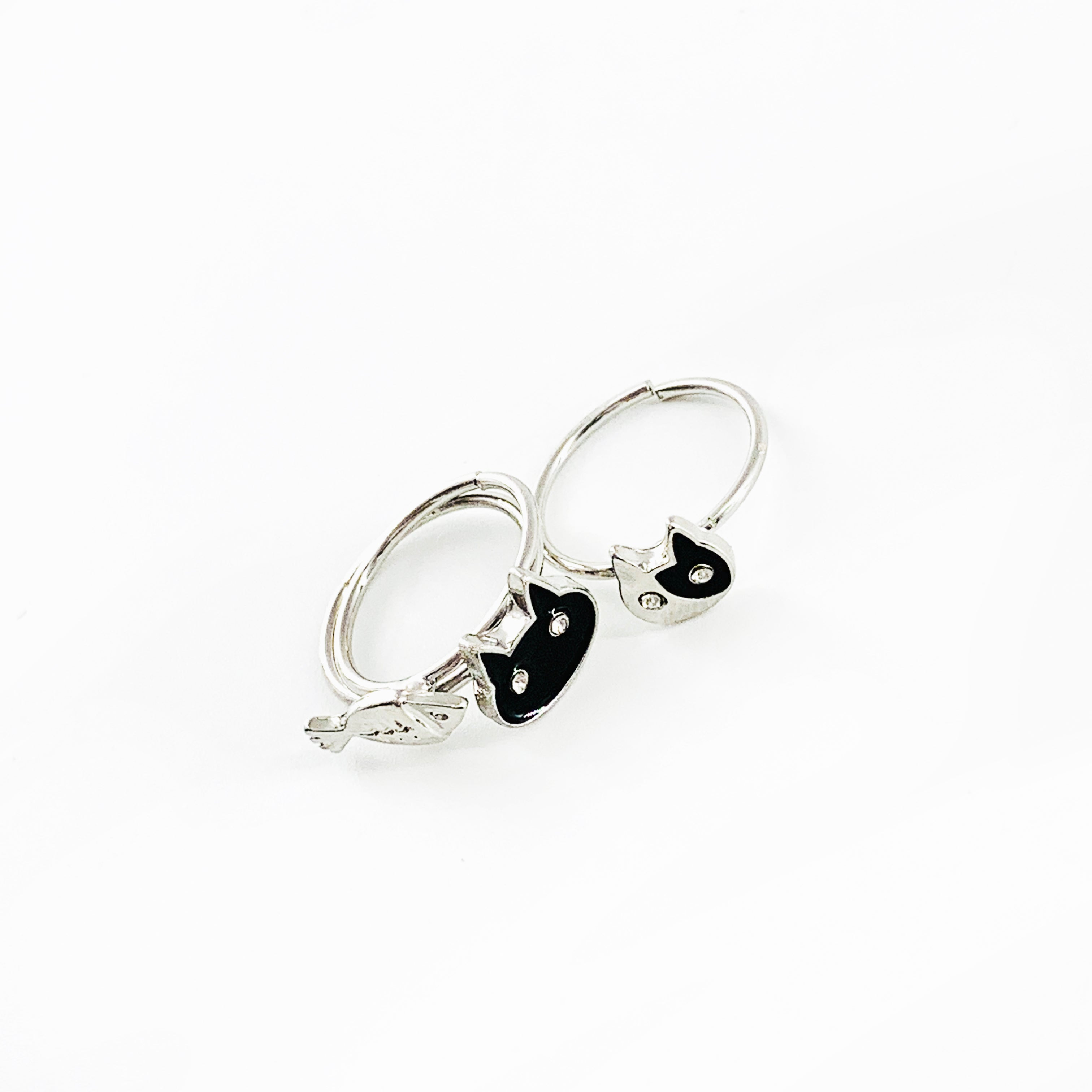 Cats and fish silver pinky rings