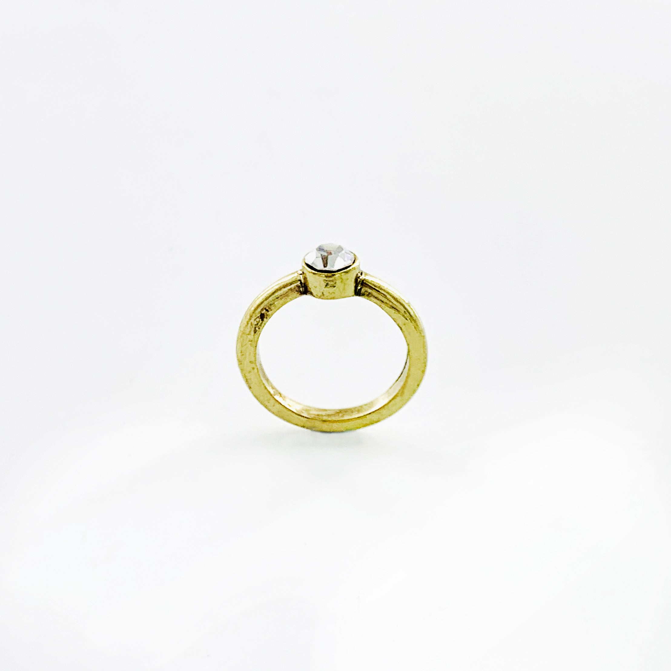 Rustic gold band with small diamante stone