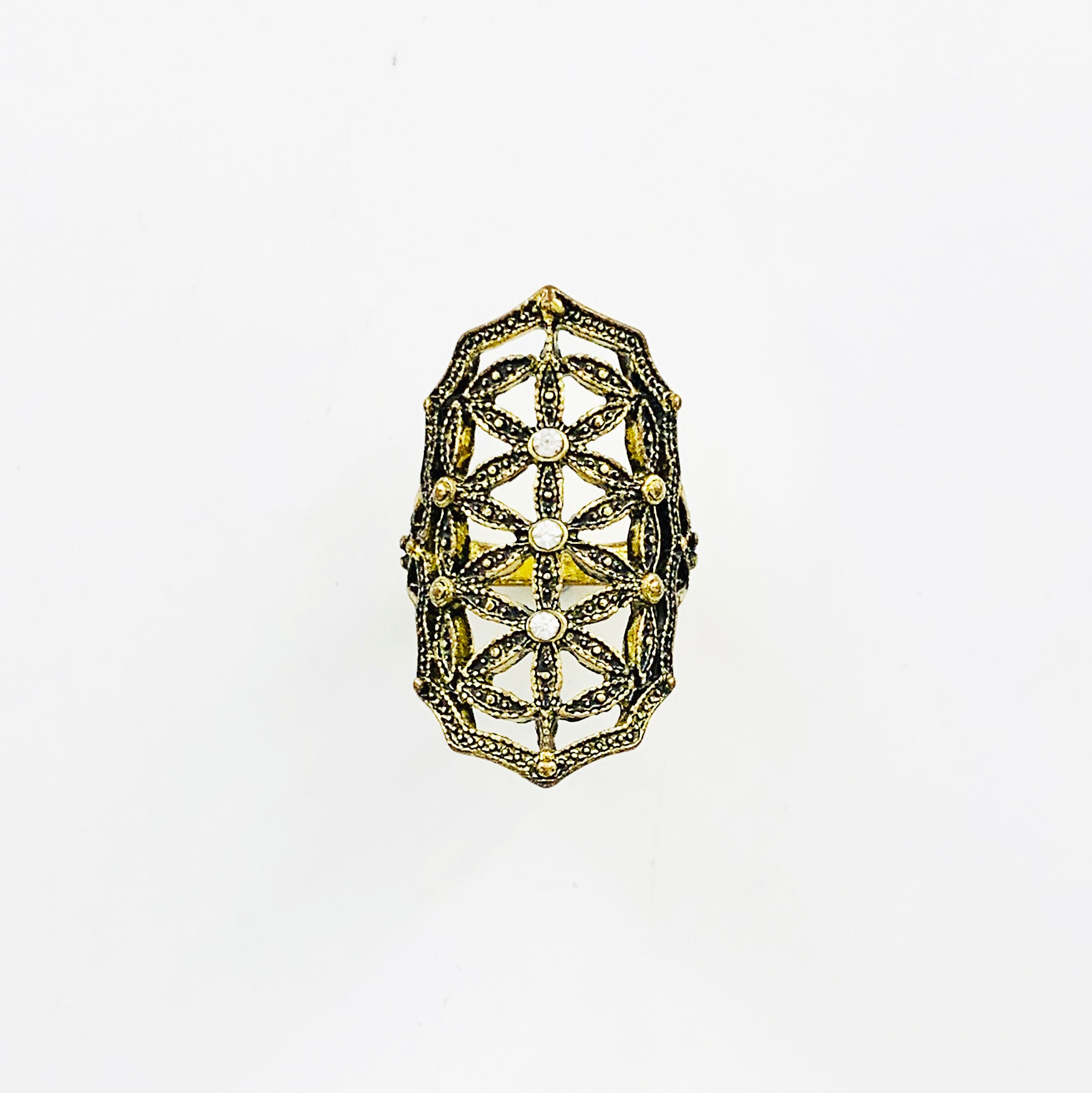 Art deco inspired rustic gold large ring