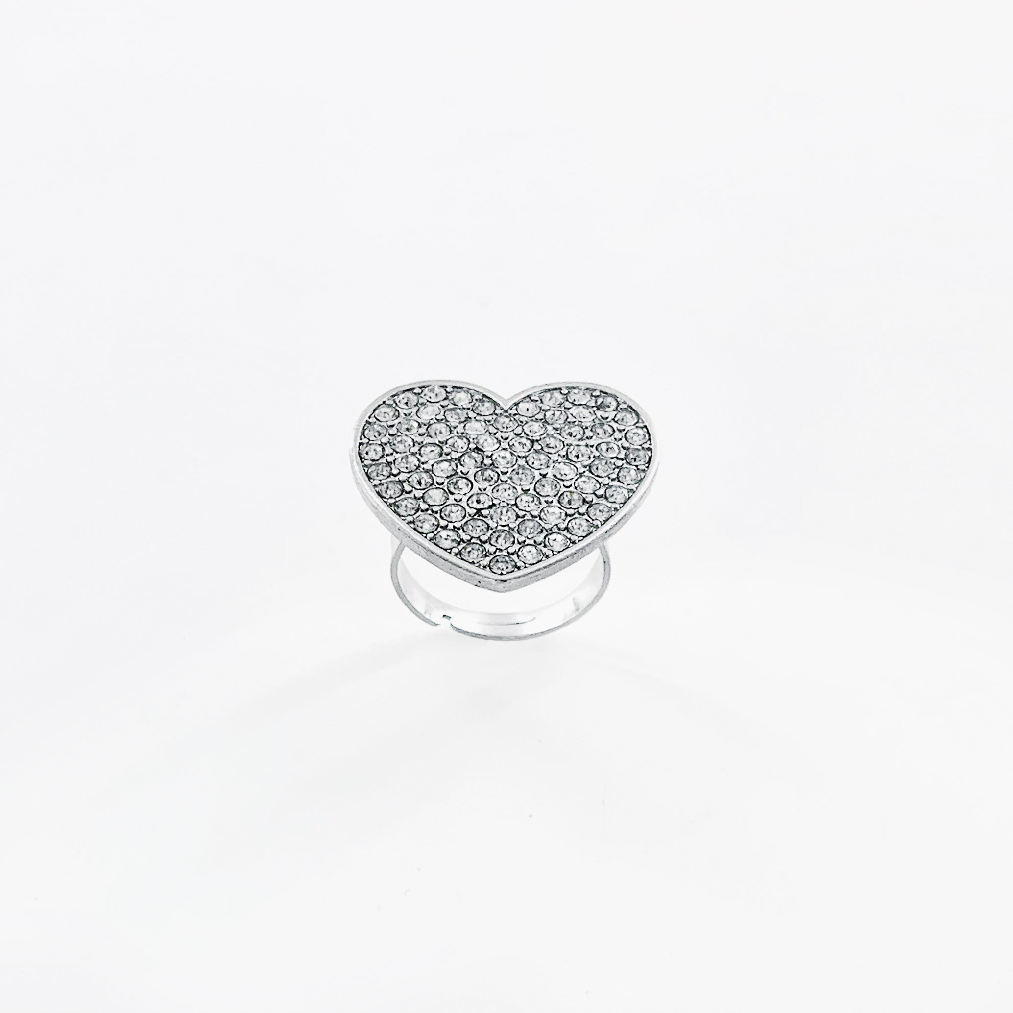 Silver ring with large diamante heart
