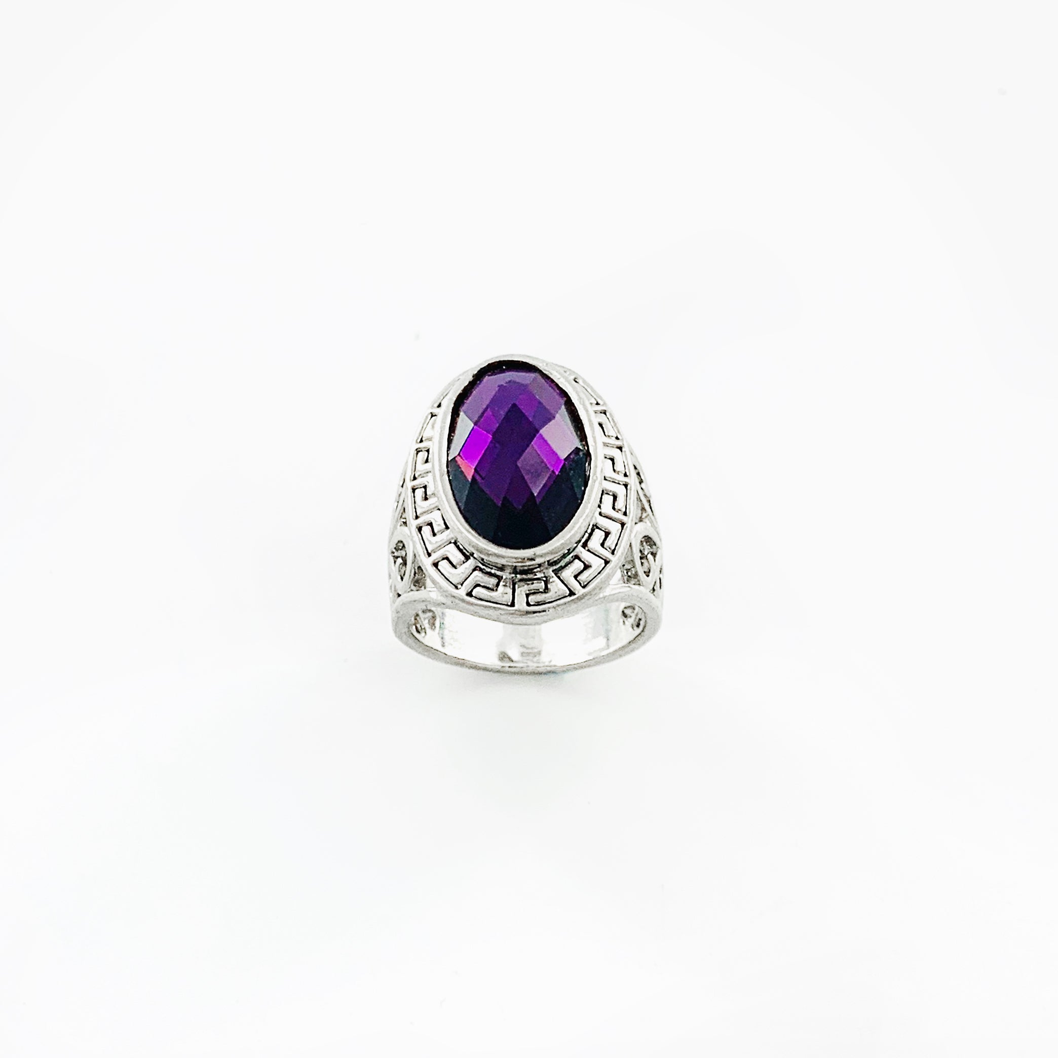 Art deco inspired silver ring with purple stone