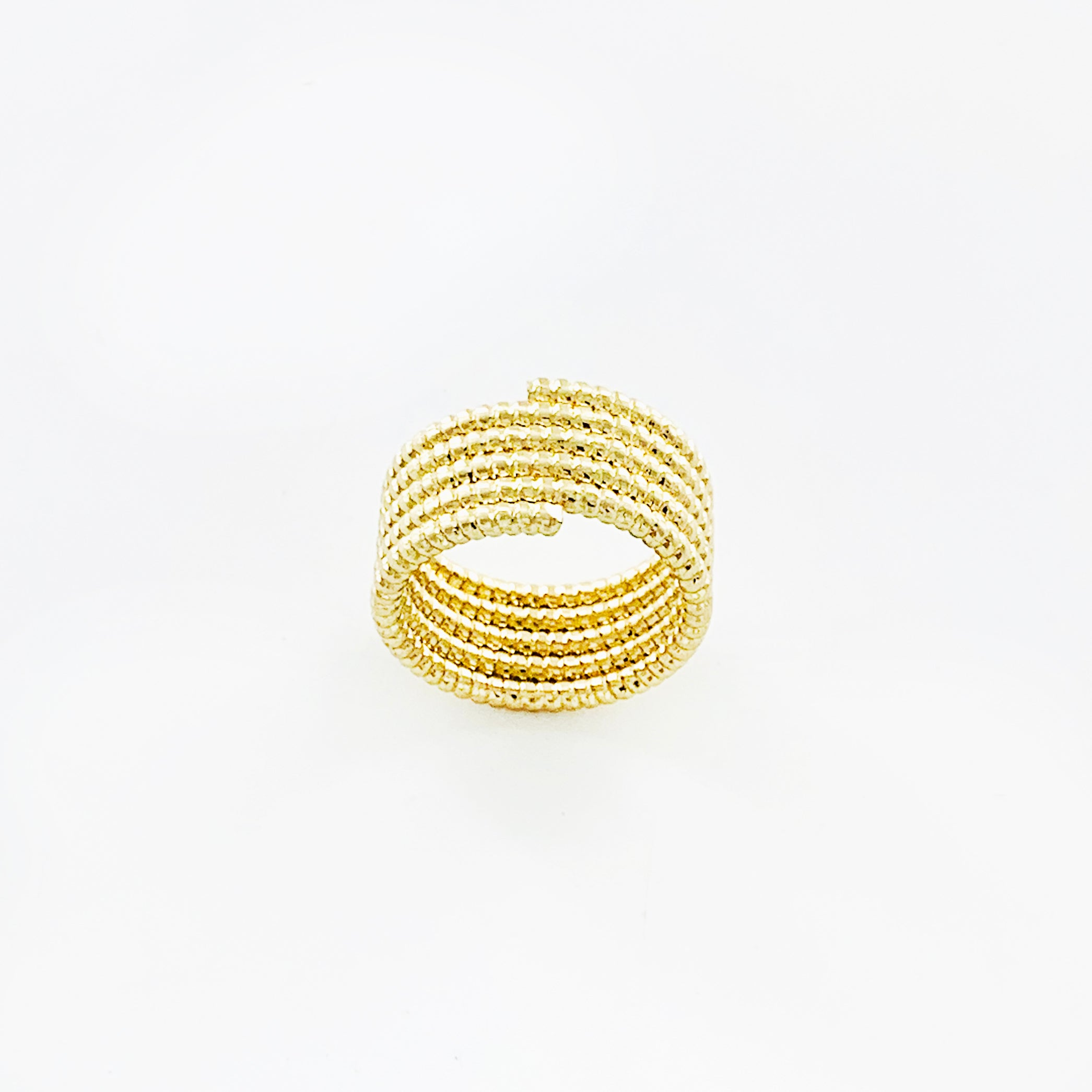Gold spiral wide ring