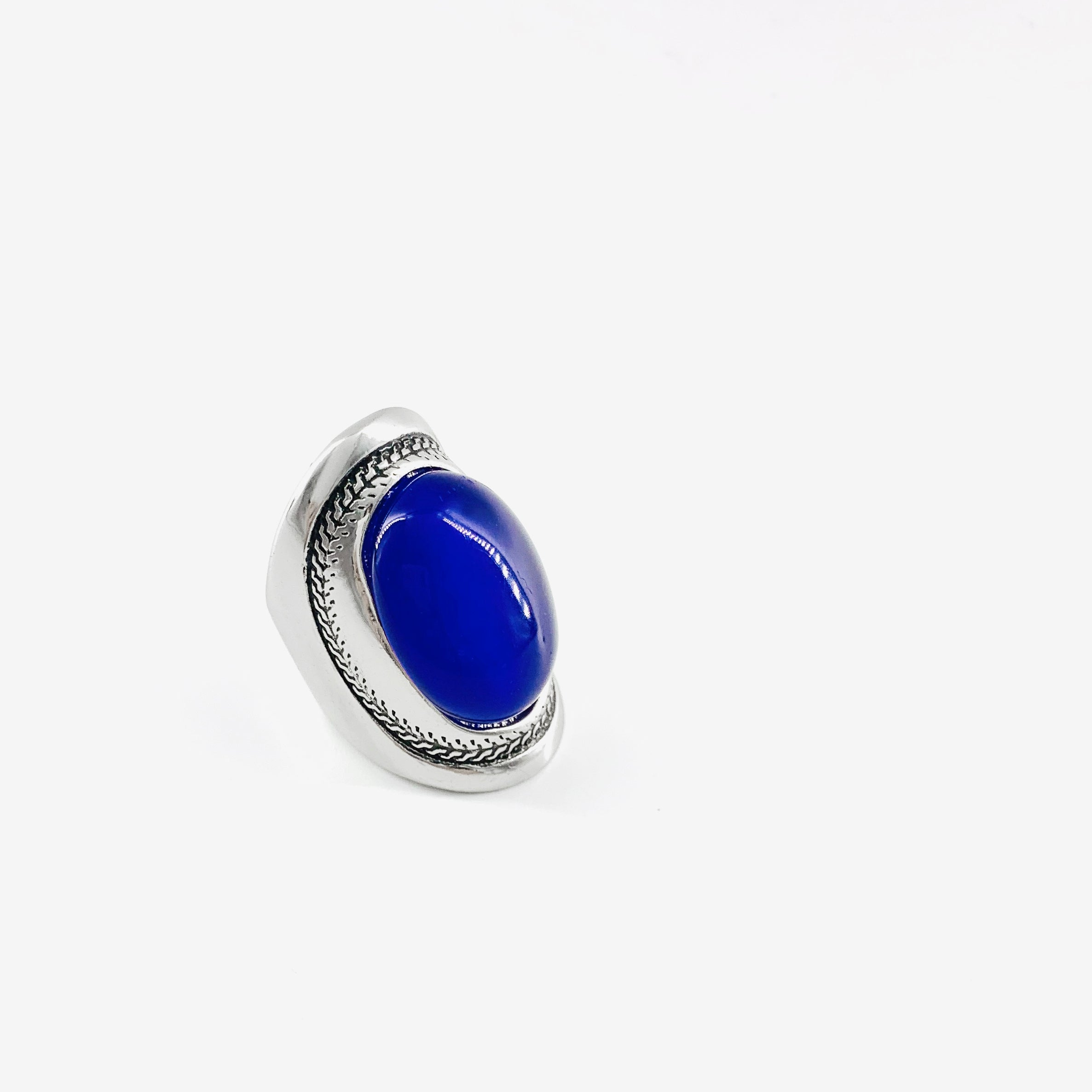 Art deco inspired silver ring with blue stone
