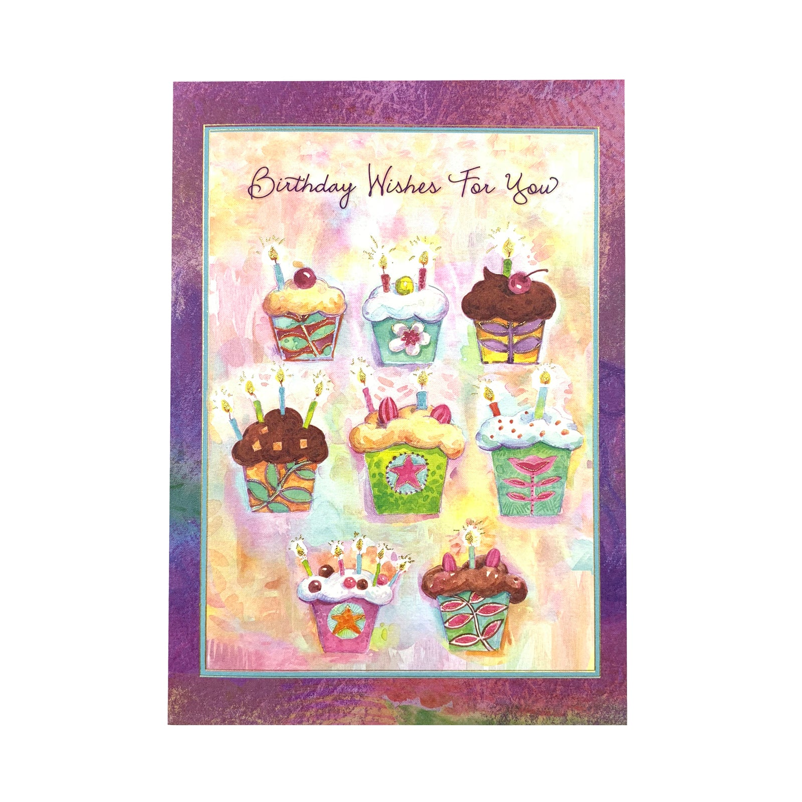 Designer Greetings Birthday Card - Birthday Wishes For You Cupcakes