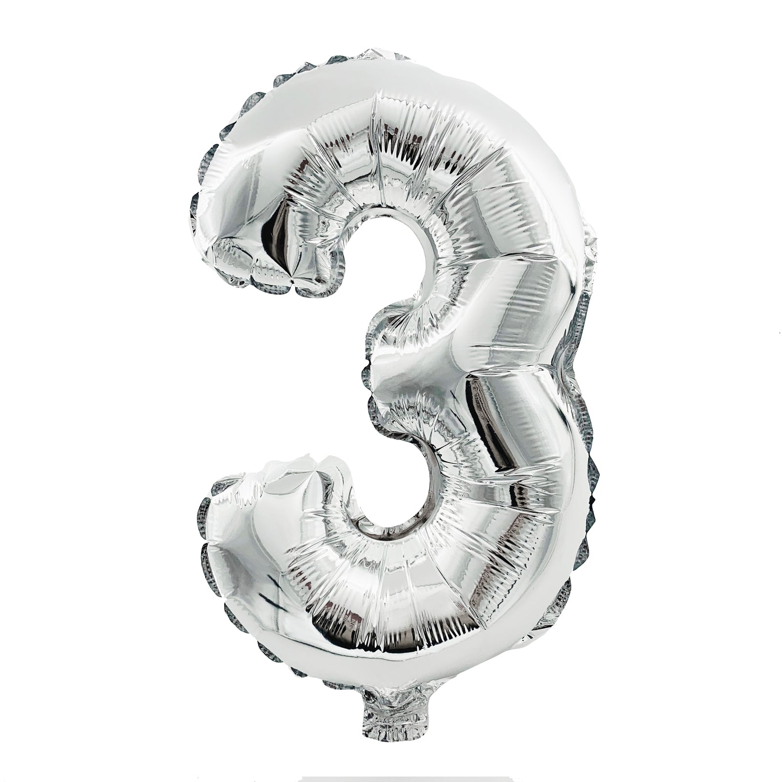 Metallic Silver Foil Balloon - Number 3