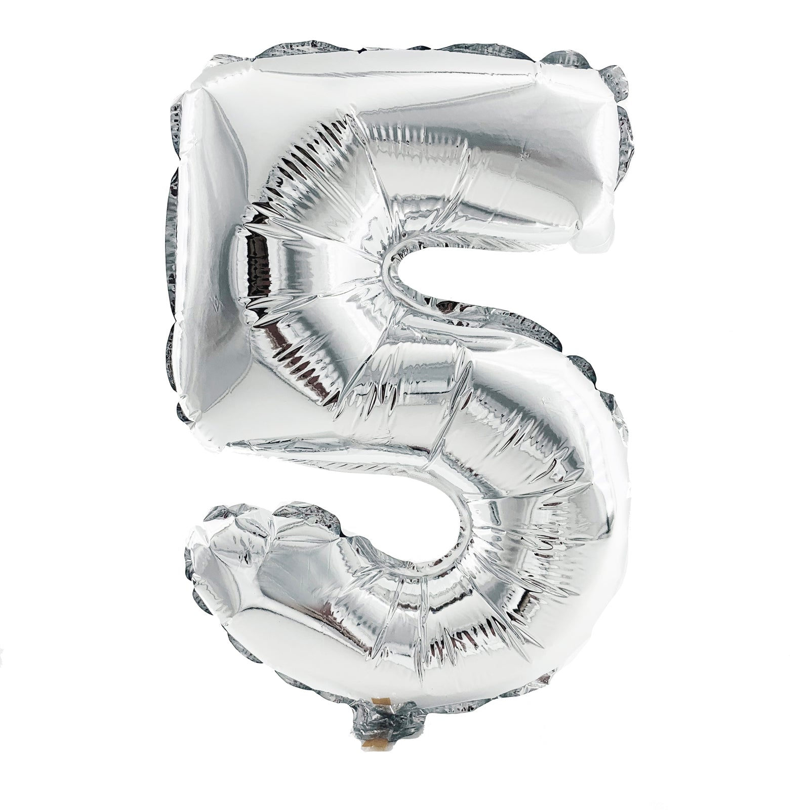 Metallic Silver Foil Balloon - Number 5