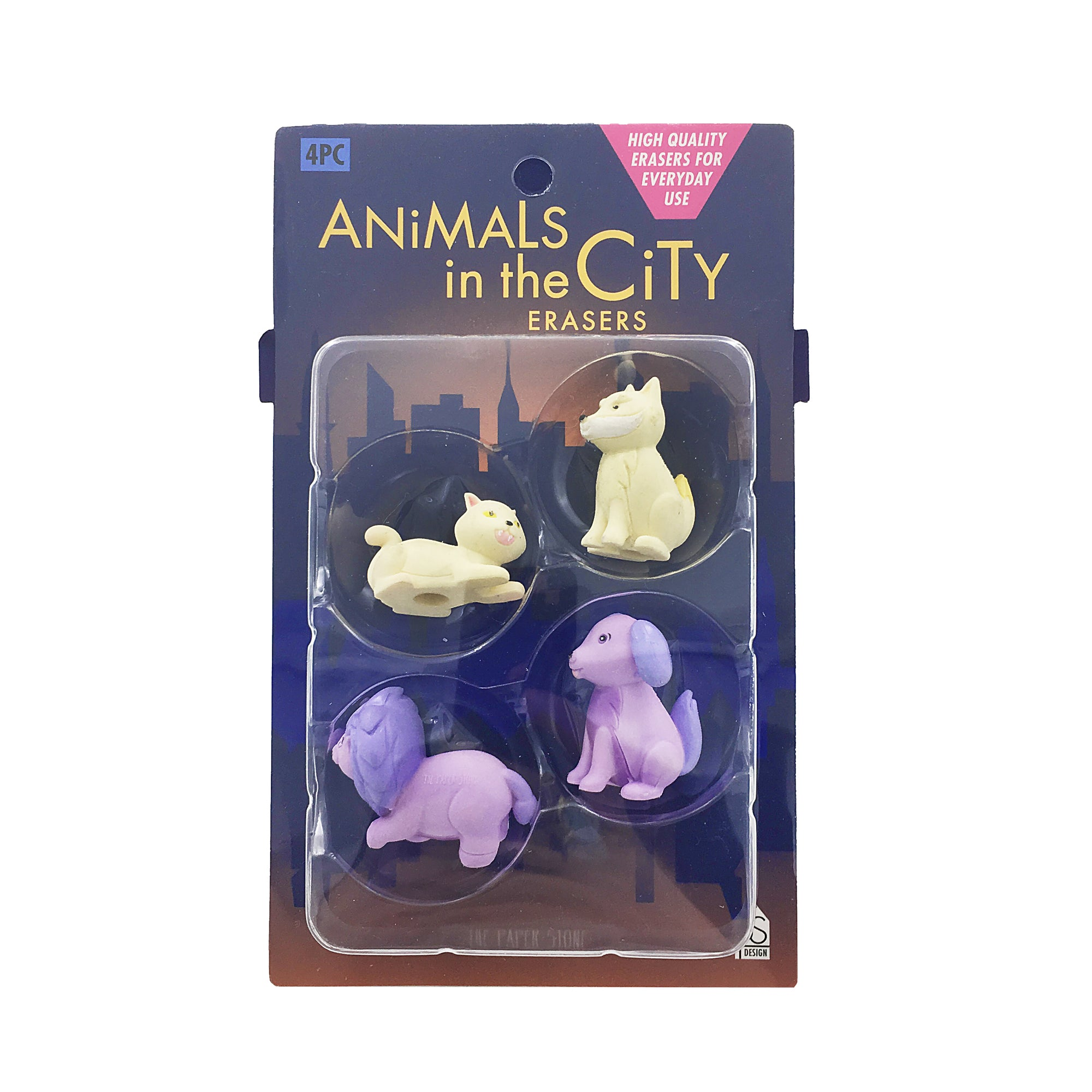 Animal Eraser Set - Beige/Purple