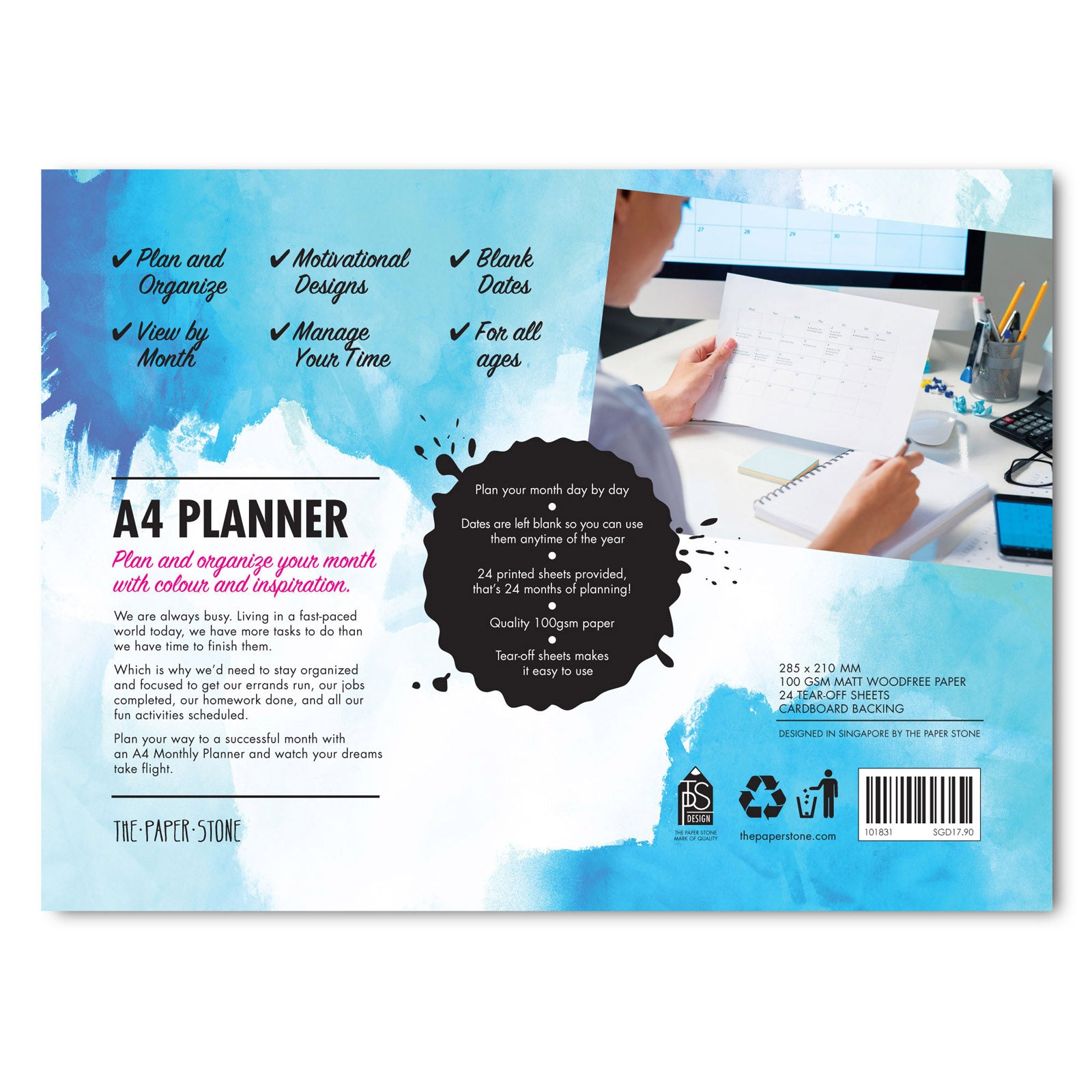 A4 Planner - Monthly Planner Paintswash