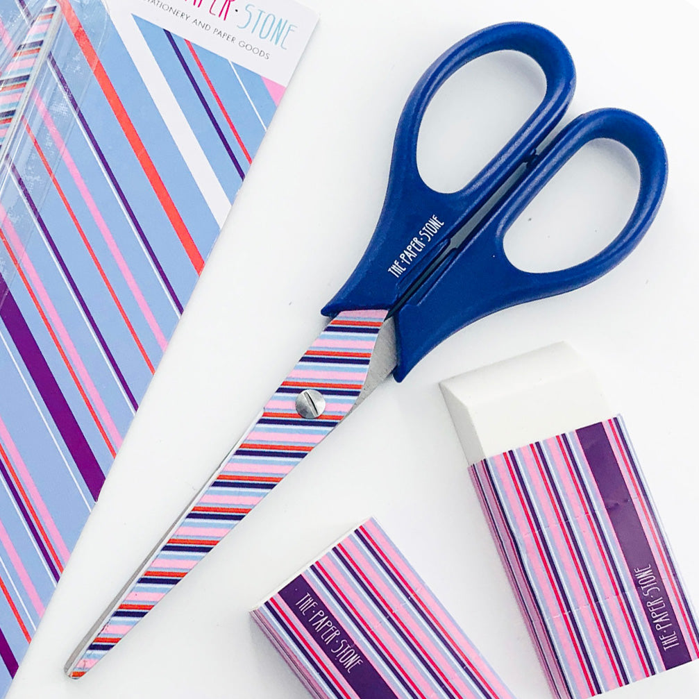 Scissors - Blue Stripes - Blue