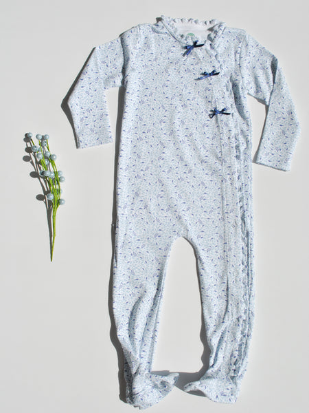 Blue Floral Long-Sleeve Footie Pajama