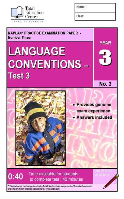 Yr 3 Language Conventions Test 3