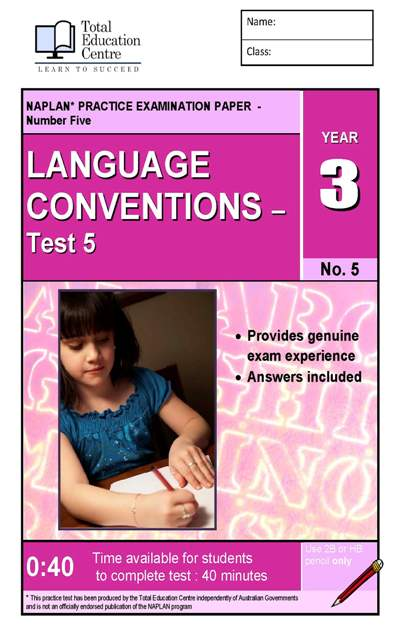 Yr 3 Language Conventions Test 5