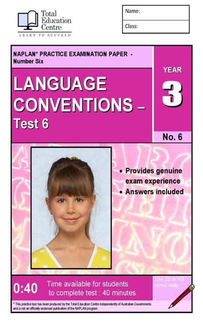 Yr 3 Language Conventions Test 6